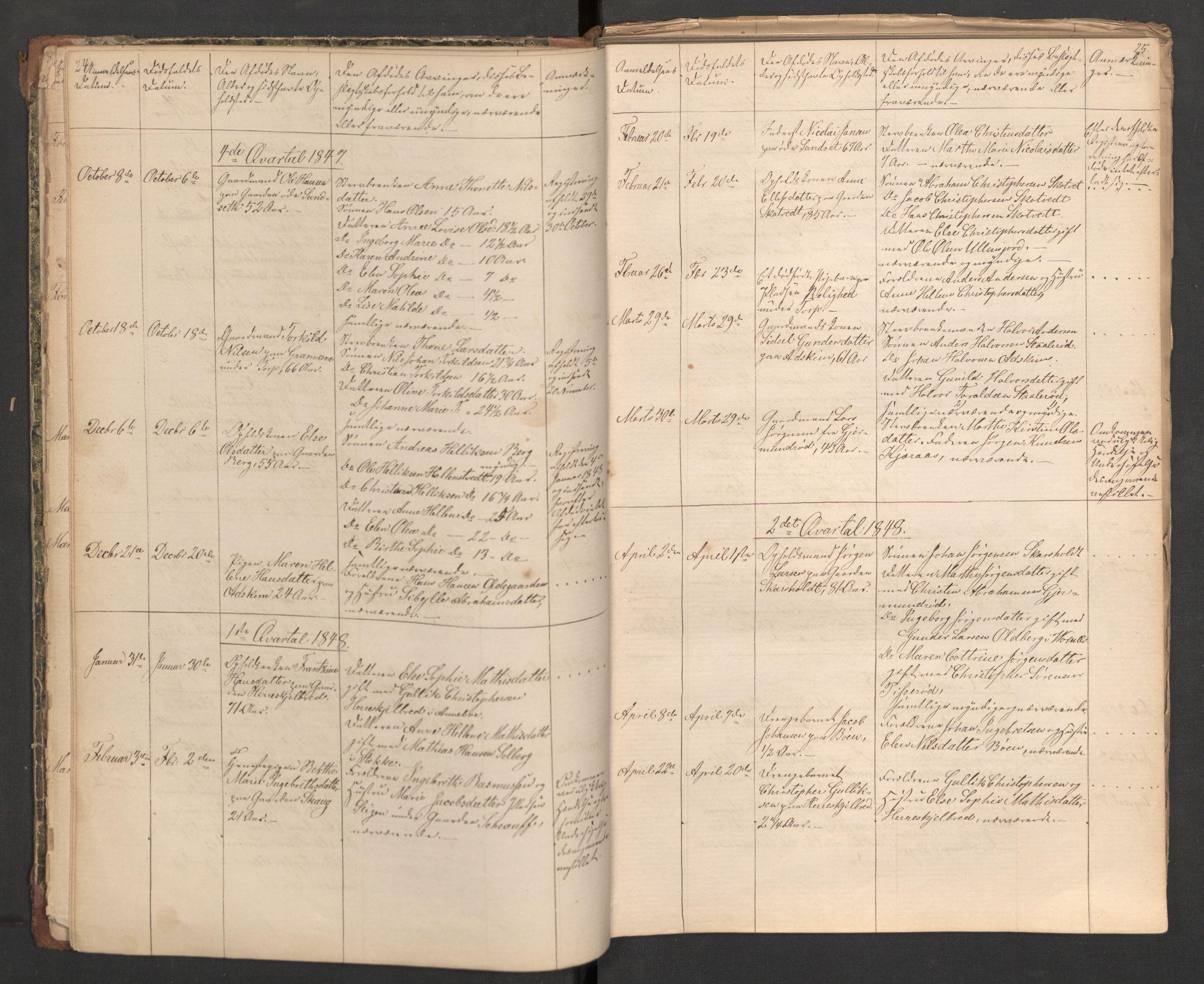 SAKO, Andebu lensmannskontor, H/Ha/L0001: Dødsfallsprotokoll, 1840-1899, s. 24-25