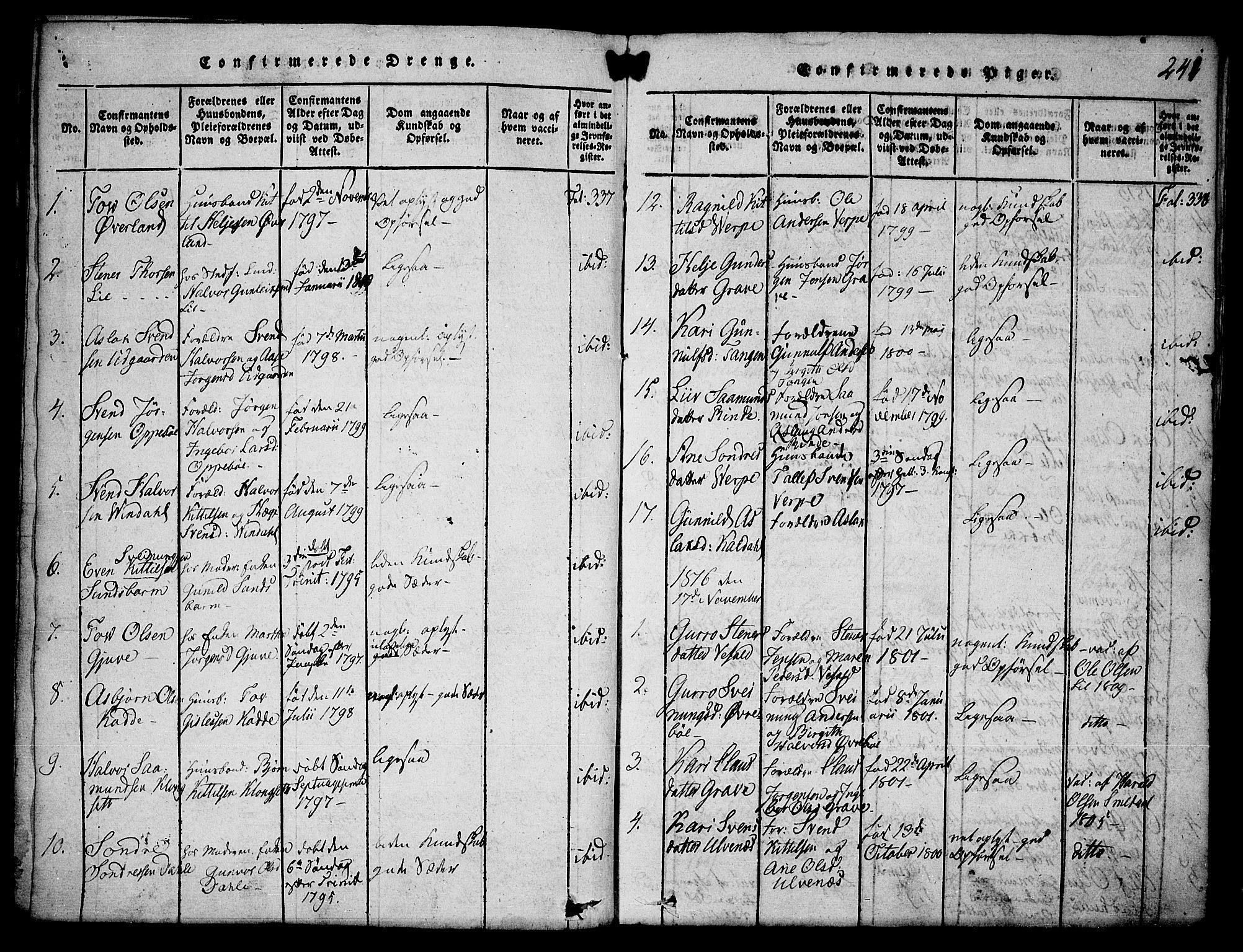 SAKO, Seljord kirkebøker, F/Fa/L0010: Ministerialbok nr. I 10, 1815-1831, s. 241