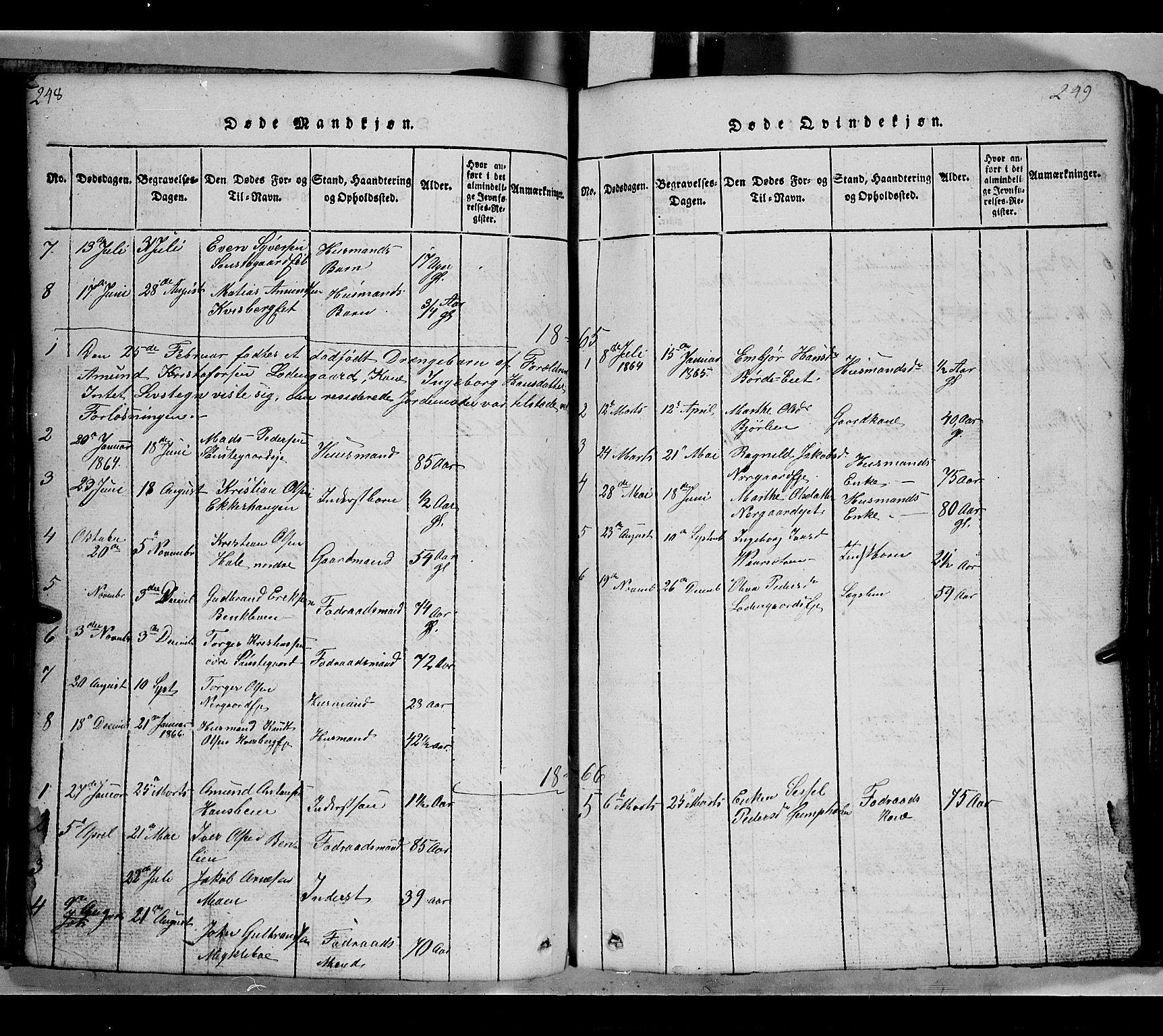 SAH, Gausdal prestekontor, Klokkerbok nr. 2, 1818-1874, s. 248-249