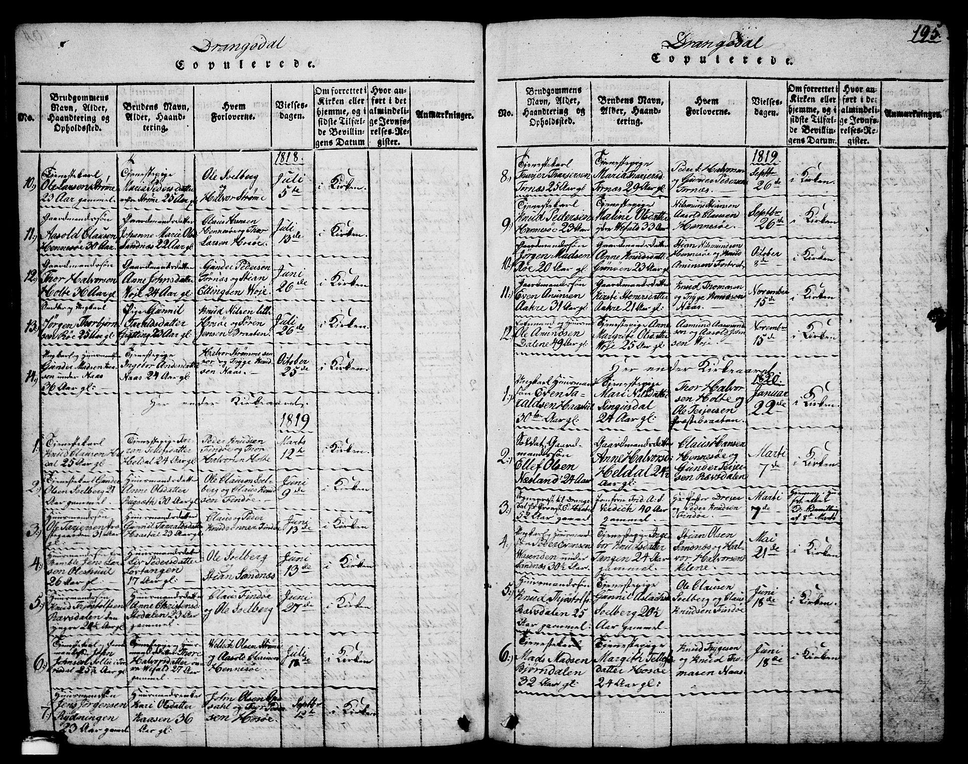 SAKO, Drangedal kirkebøker, G/Ga/L0001: Klokkerbok nr. I 1 /1, 1814-1856, s. 195