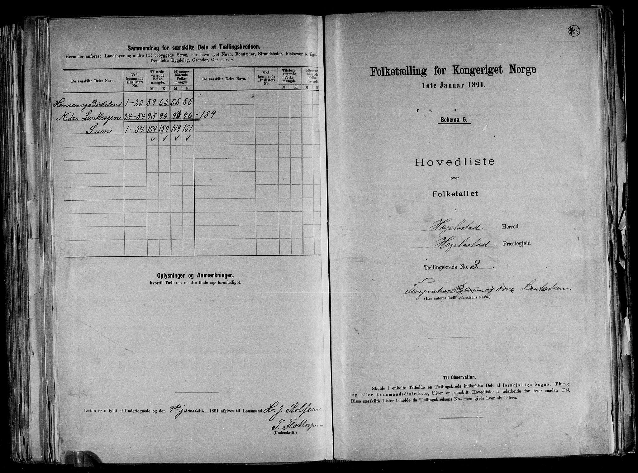 RA, Folketelling 1891 for 1034 Hægebostad herred, 1891, s. 9
