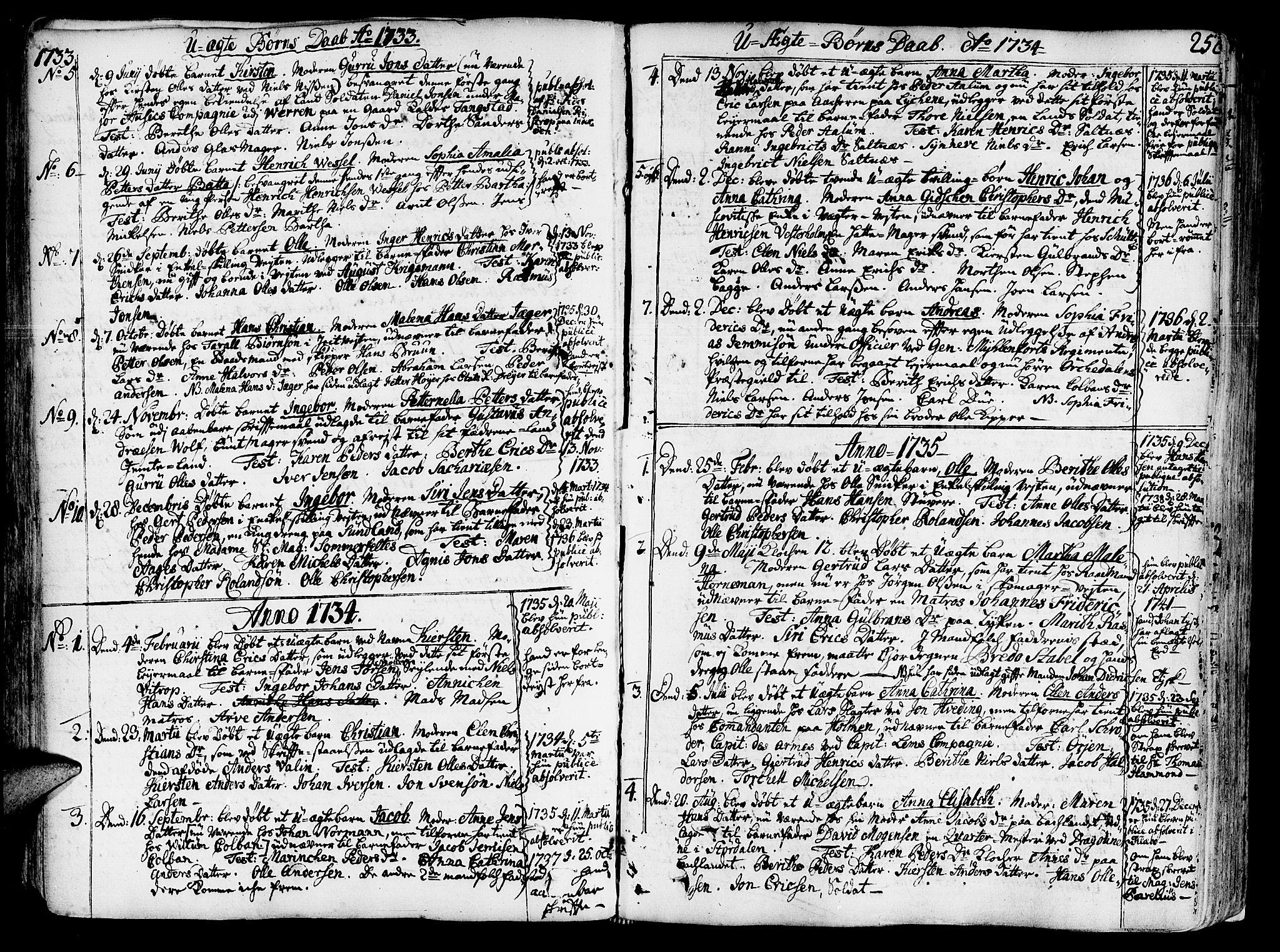 SAT, Ministerialprotokoller, klokkerbøker og fødselsregistre - Sør-Trøndelag, 602/L0103: Ministerialbok nr. 602A01, 1732-1774, s. 252