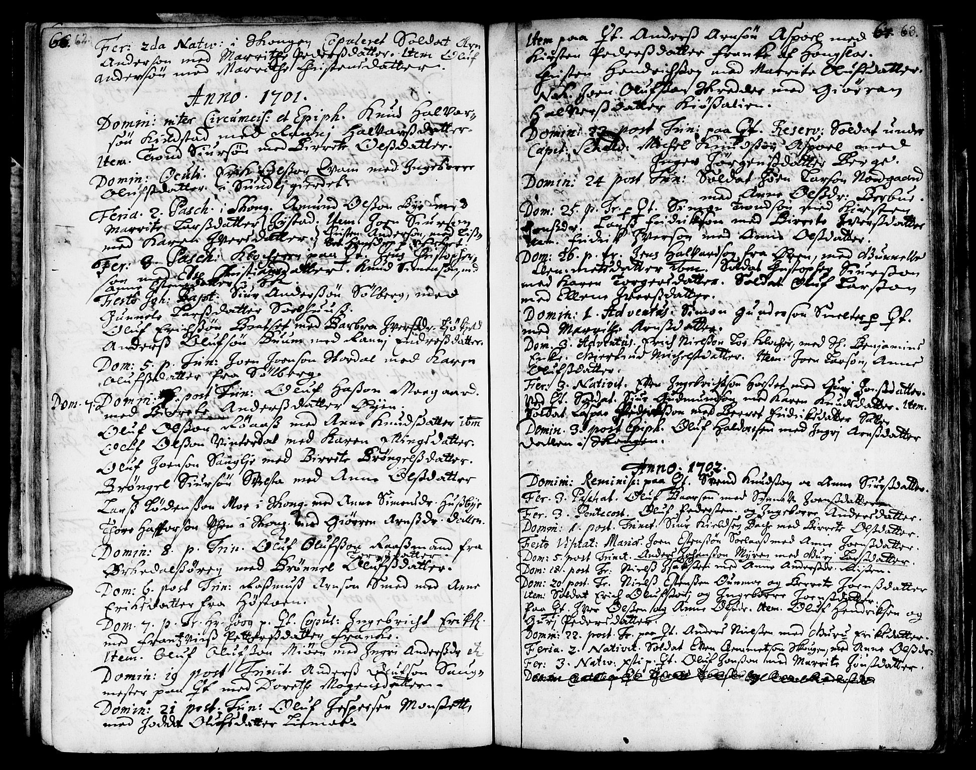 SAT, Ministerialprotokoller, klokkerbøker og fødselsregistre - Sør-Trøndelag, 668/L0801: Ministerialbok nr. 668A01, 1695-1716, s. 62-63
