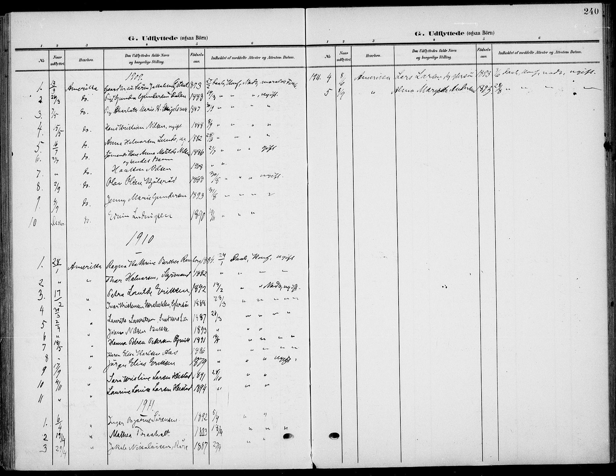 SAKO, Eidanger kirkebøker, F/Fa/L0013: Ministerialbok nr. 13, 1900-1913, s. 240