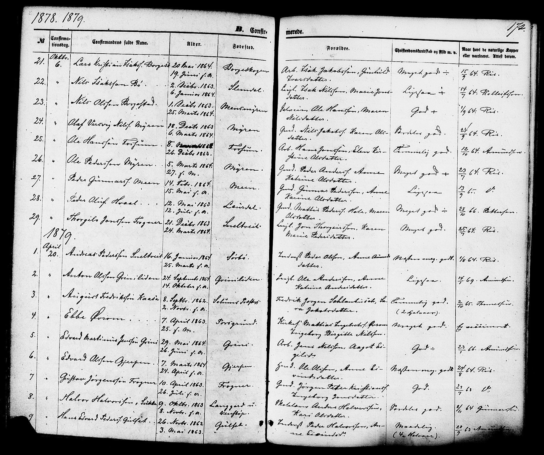 SAKO, Gjerpen kirkebøker, F/Fa/L0009: Ministerialbok nr. 9, 1872-1885, s. 172