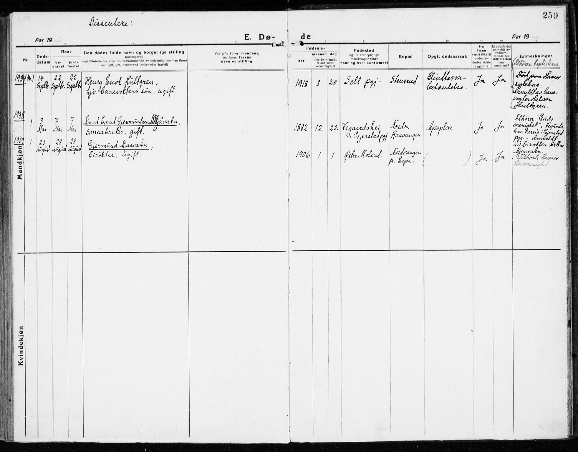 SAH, Stange prestekontor, K/L0025: Ministerialbok nr. 25, 1921-1945, s. 259
