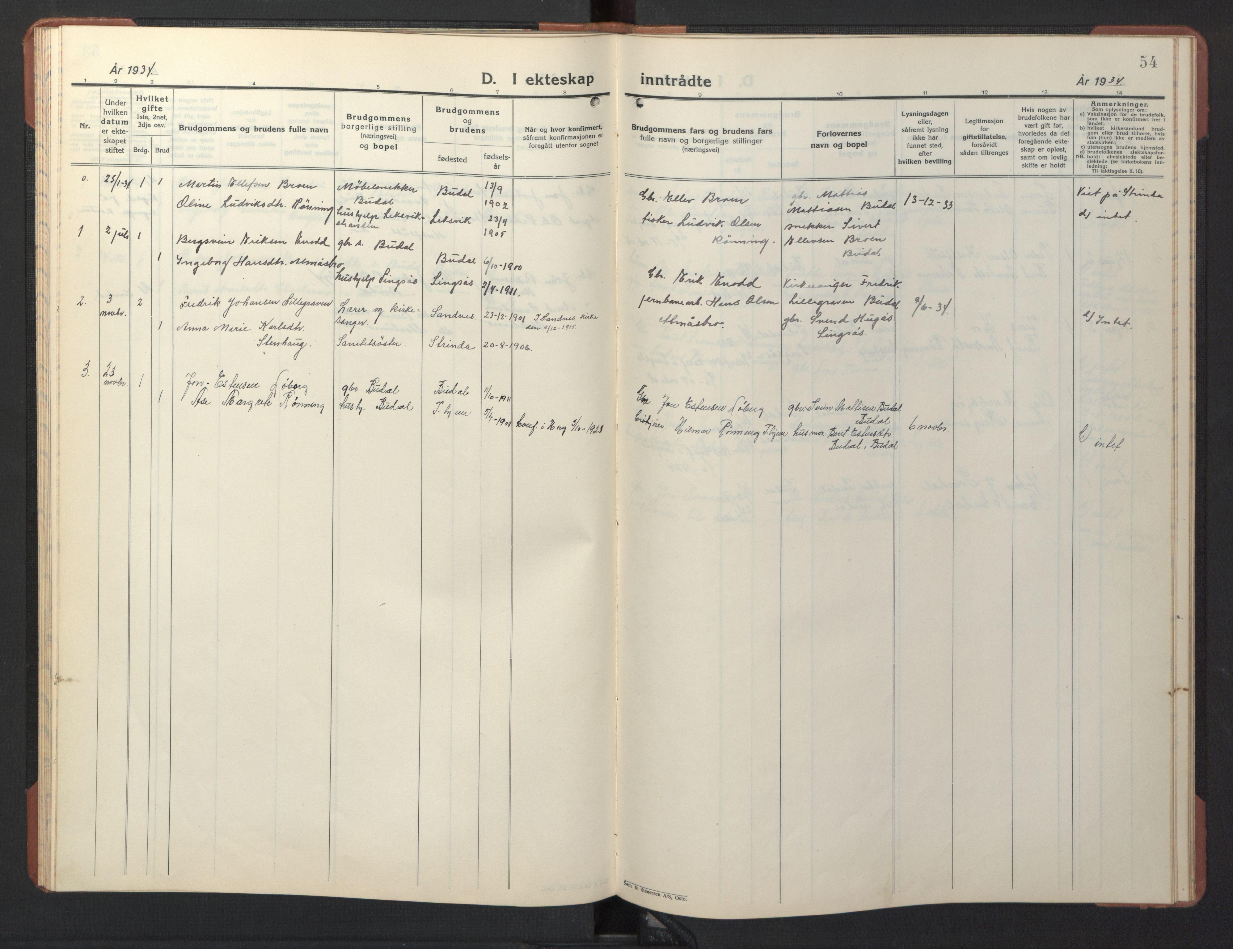 SAT, Ministerialprotokoller, klokkerbøker og fødselsregistre - Sør-Trøndelag, 690/L1053: Klokkerbok nr. 690C03, 1930-1947, s. 54