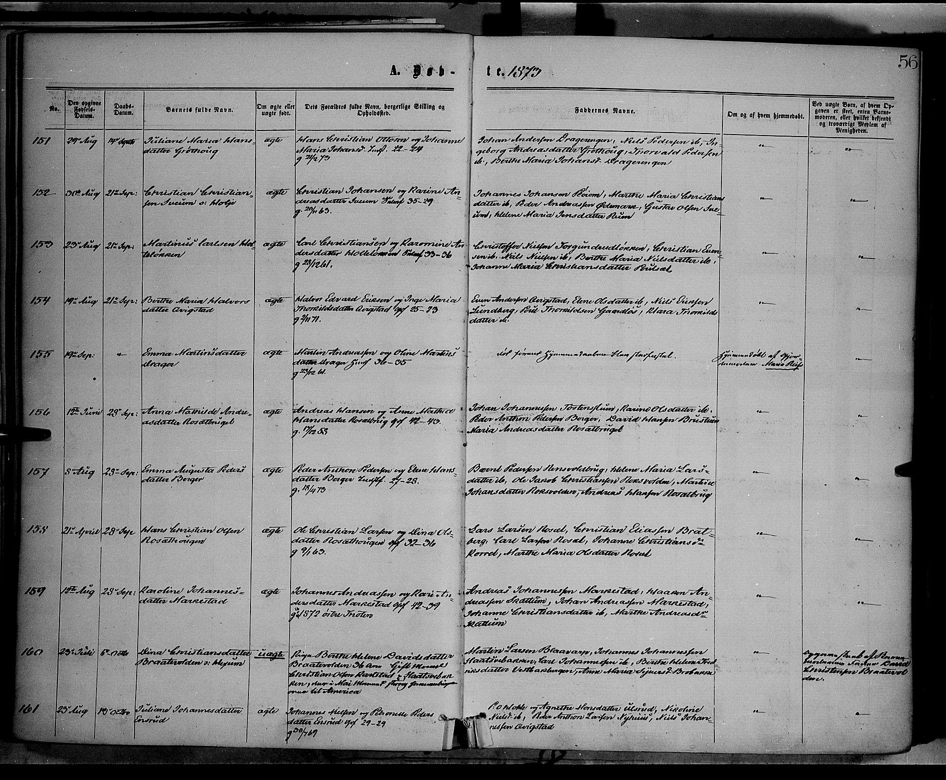 SAH, Vestre Toten prestekontor, H/Ha/Haa/L0008: Ministerialbok nr. 8, 1870-1877, s. 56