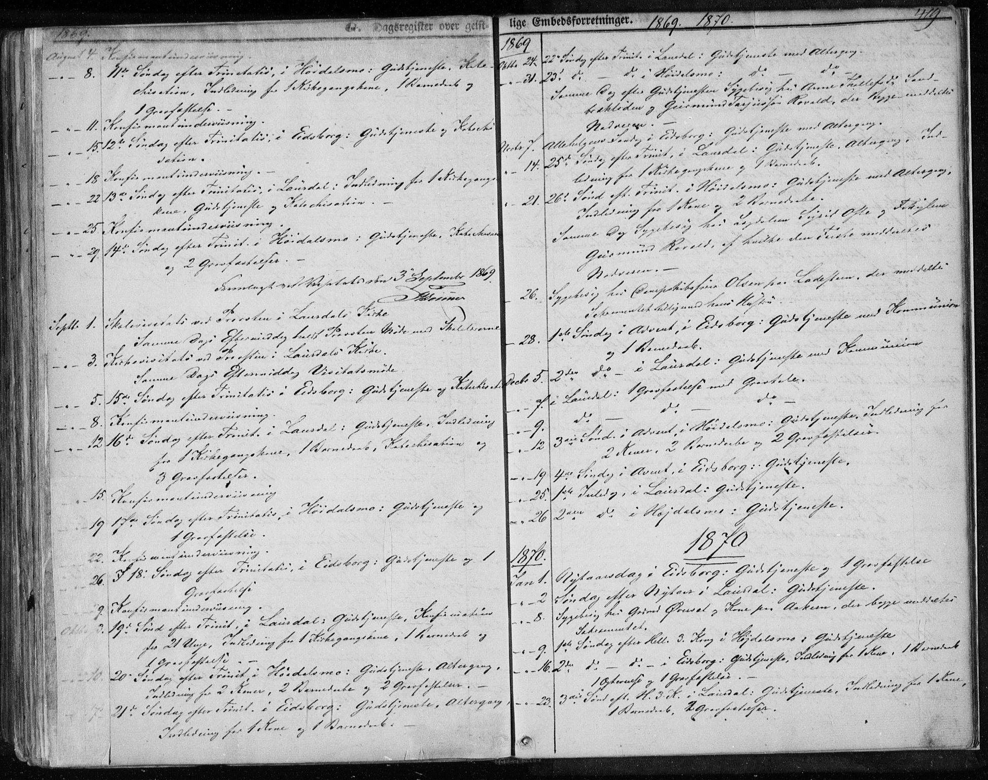 SAKO, Lårdal kirkebøker, F/Fa/L0006: Ministerialbok nr. I 6, 1861-1886, s. 419