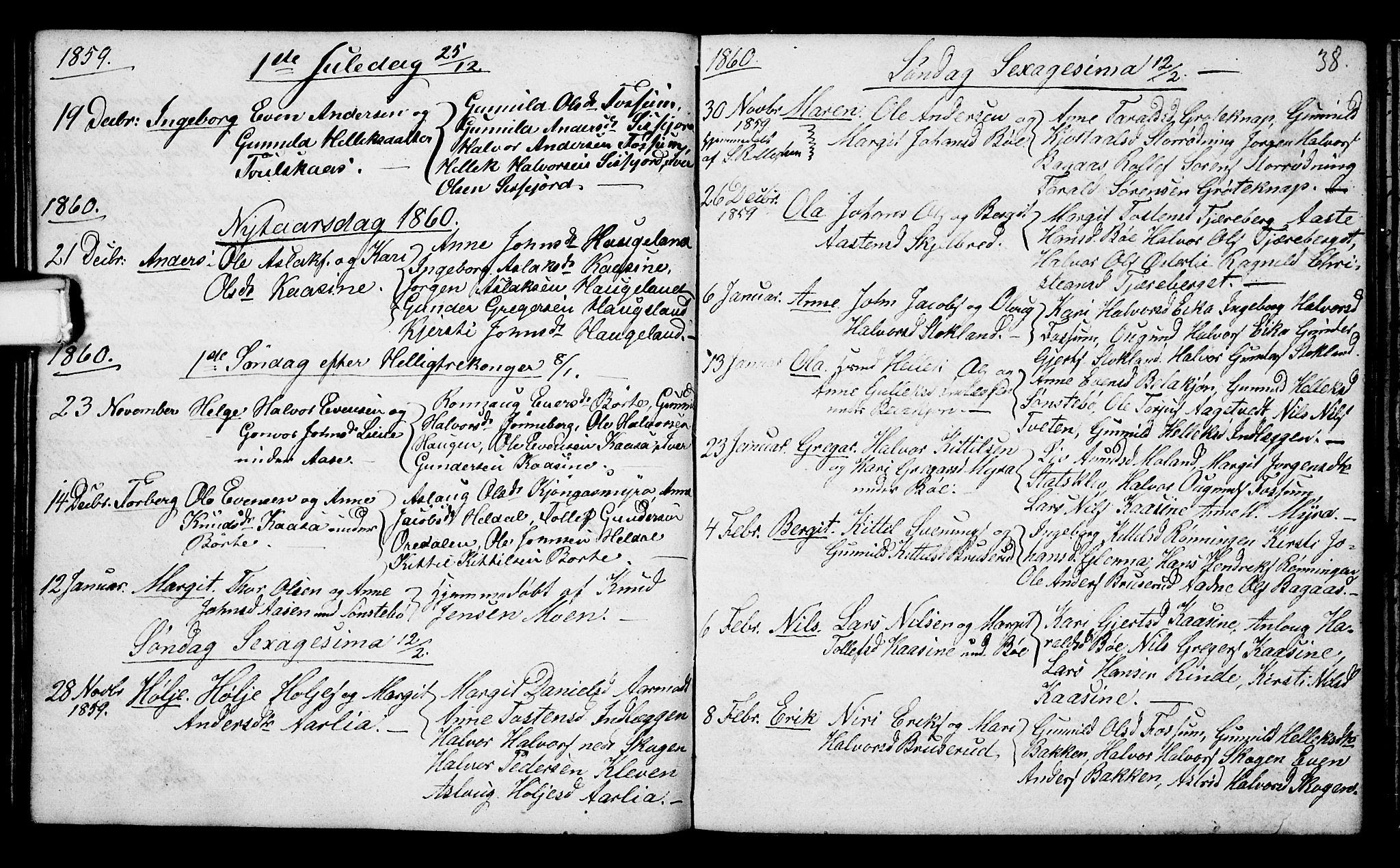 SAKO, Bø kirkebøker, G/Ga/L0002: Klokkerbok nr. 2, 1853-1866, s. 38
