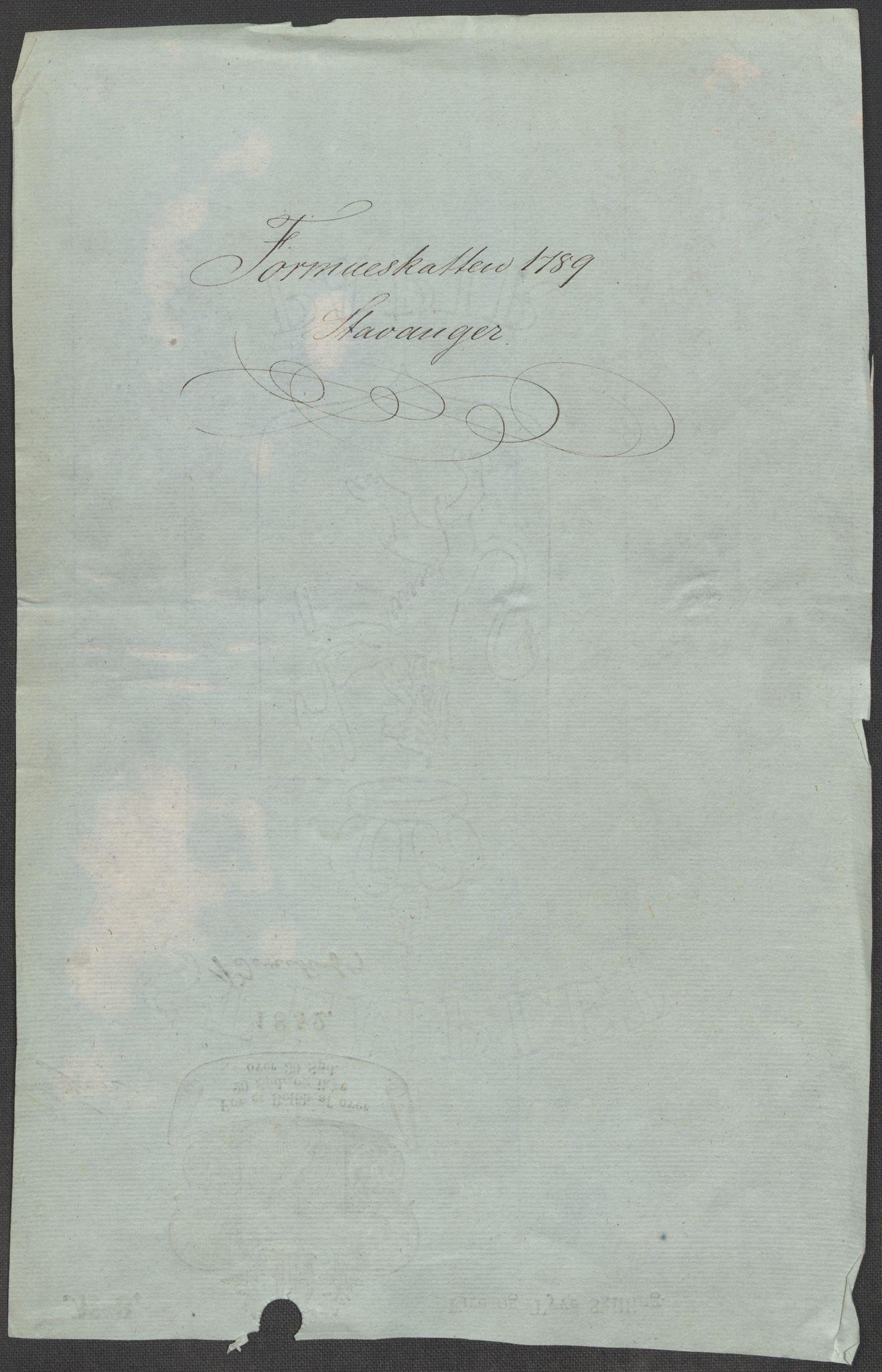 RA, Rentekammeret inntil 1814, Reviderte regnskaper, Mindre regnskaper, Rf/Rfe/L0045: Stavanger, Stjørdal og Verdal fogderi, 1789, s. 3