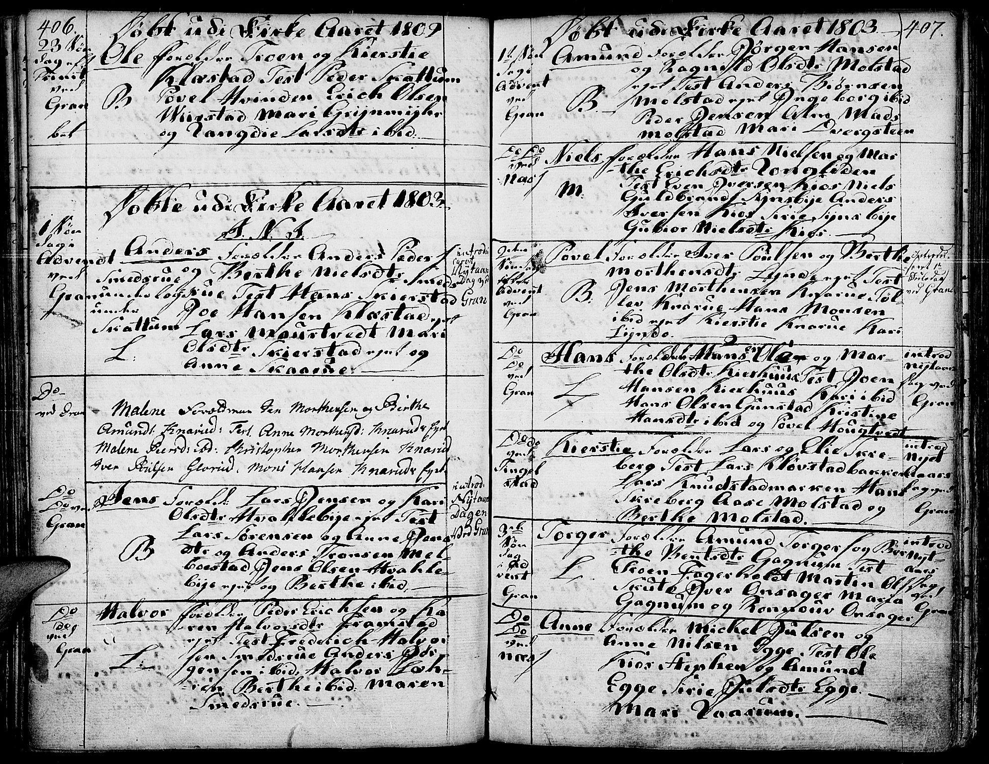SAH, Gran prestekontor, Ministerialbok nr. 6, 1787-1824, s. 406-407