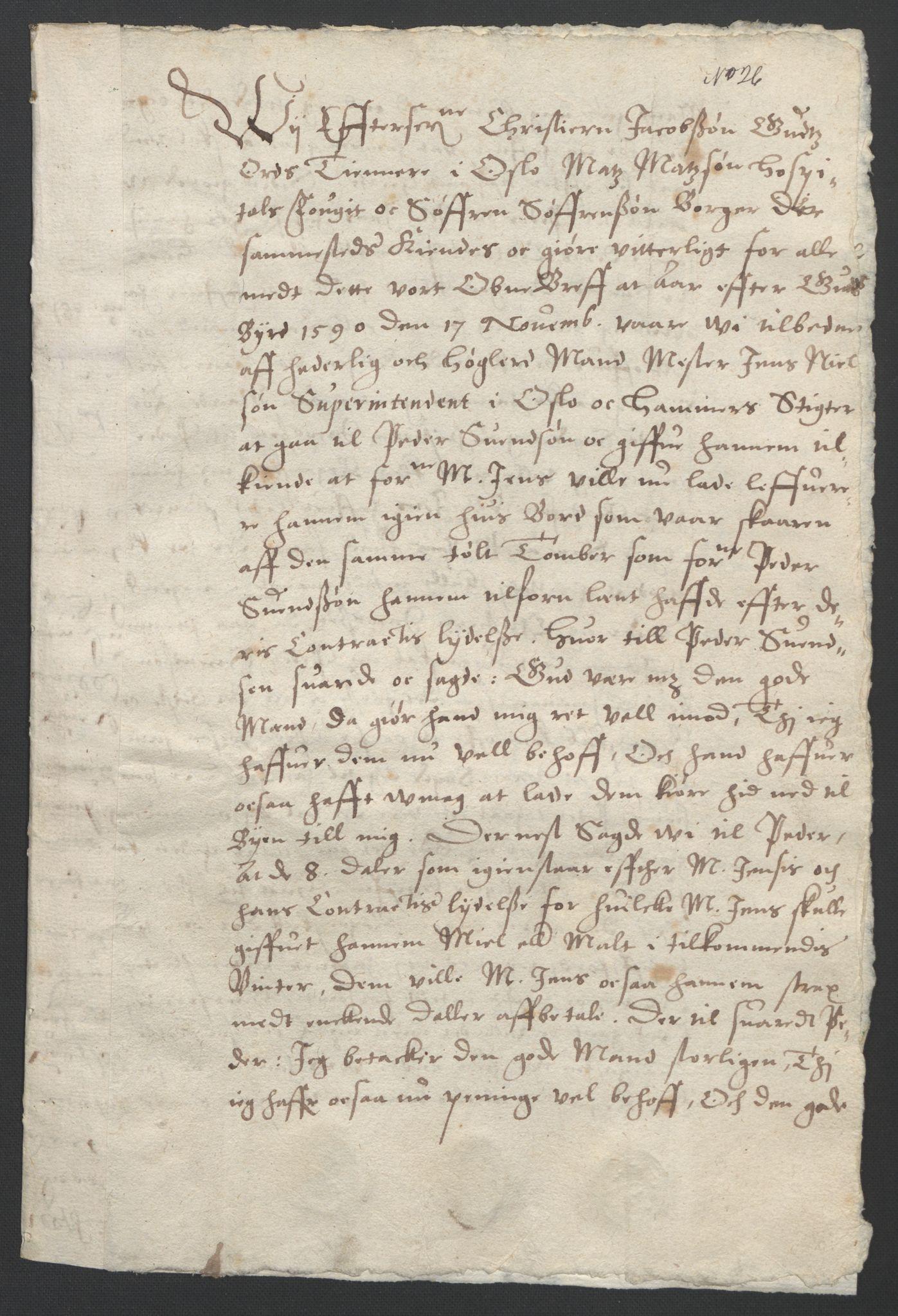 SAO, Oslo stiftsdireksjon, G/Gb/L0001: Bispestolens dokumenter, 1584-1612, s. 26