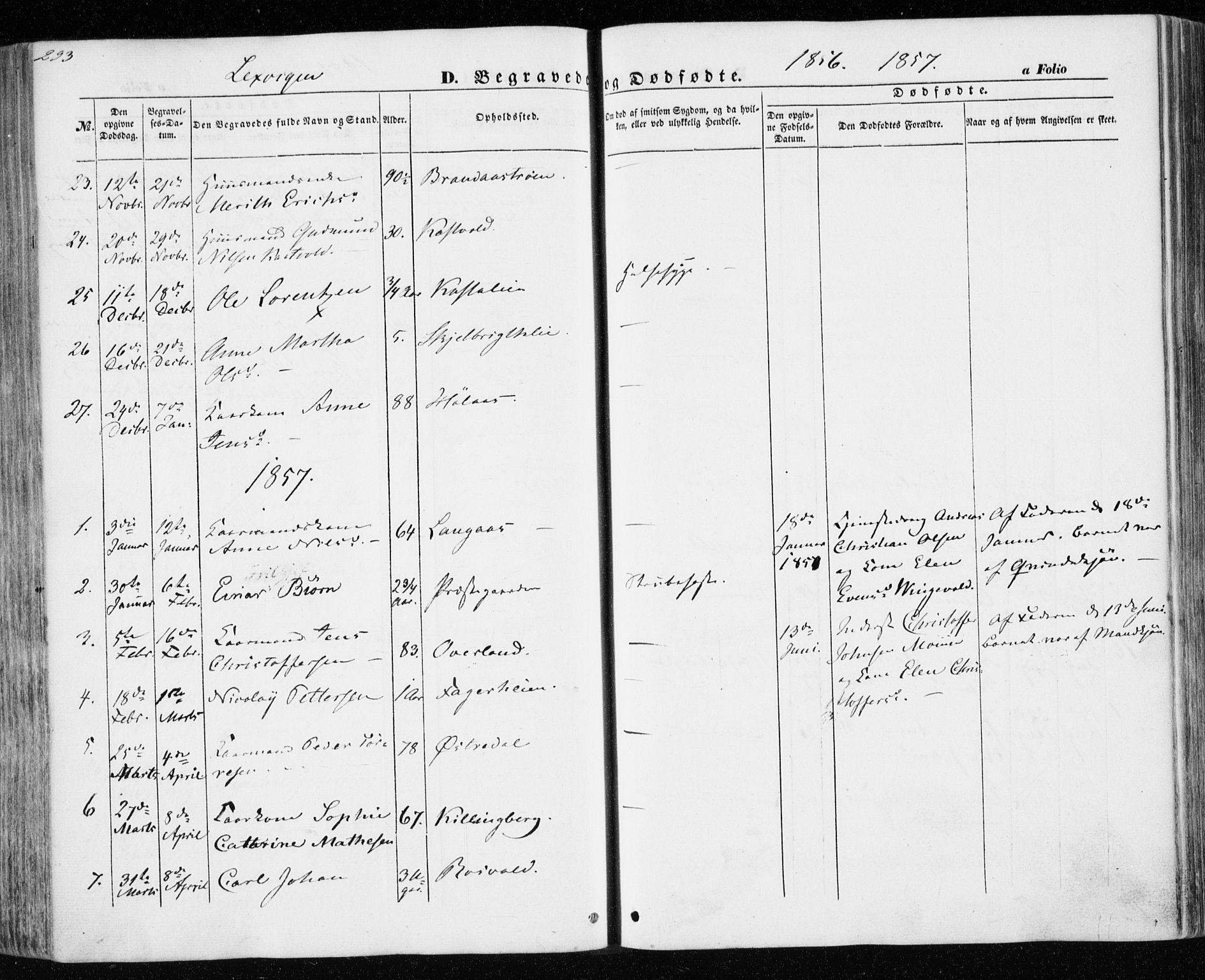 SAT, Ministerialprotokoller, klokkerbøker og fødselsregistre - Nord-Trøndelag, 701/L0008: Ministerialbok nr. 701A08 /1, 1854-1863, s. 293