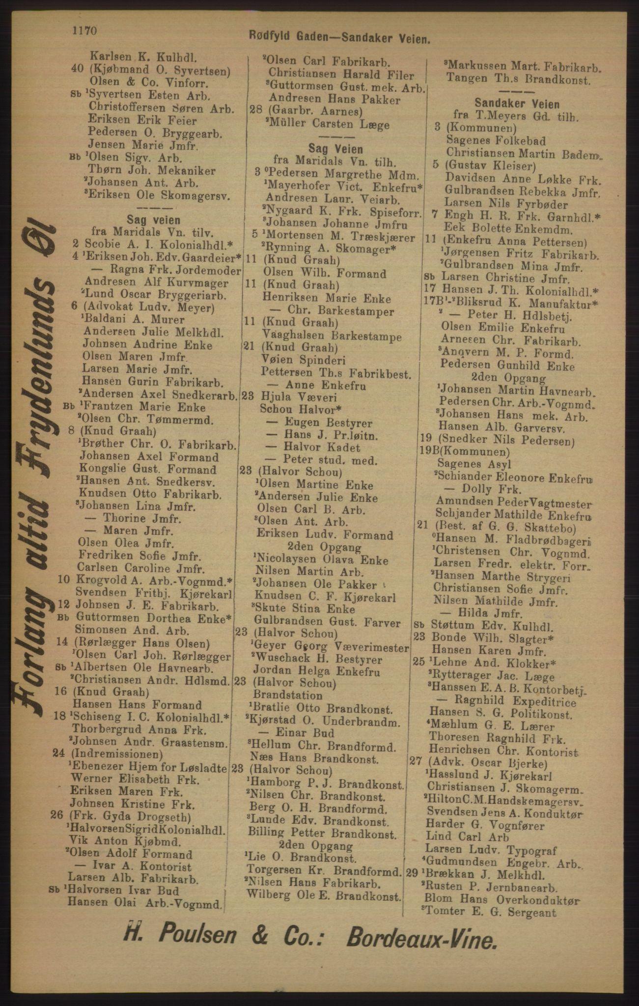 RA, Kristiania adressebok (publikasjon)*, 1905, s. 1170