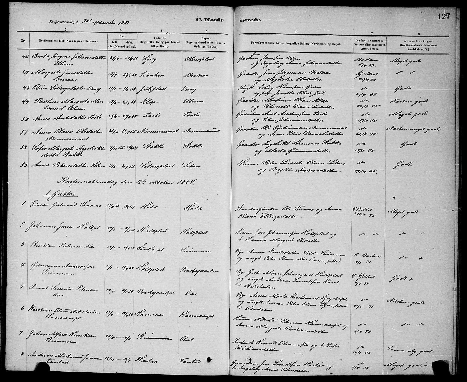 SAT, Ministerialprotokoller, klokkerbøker og fødselsregistre - Nord-Trøndelag, 730/L0301: Klokkerbok nr. 730C04, 1880-1897, s. 127