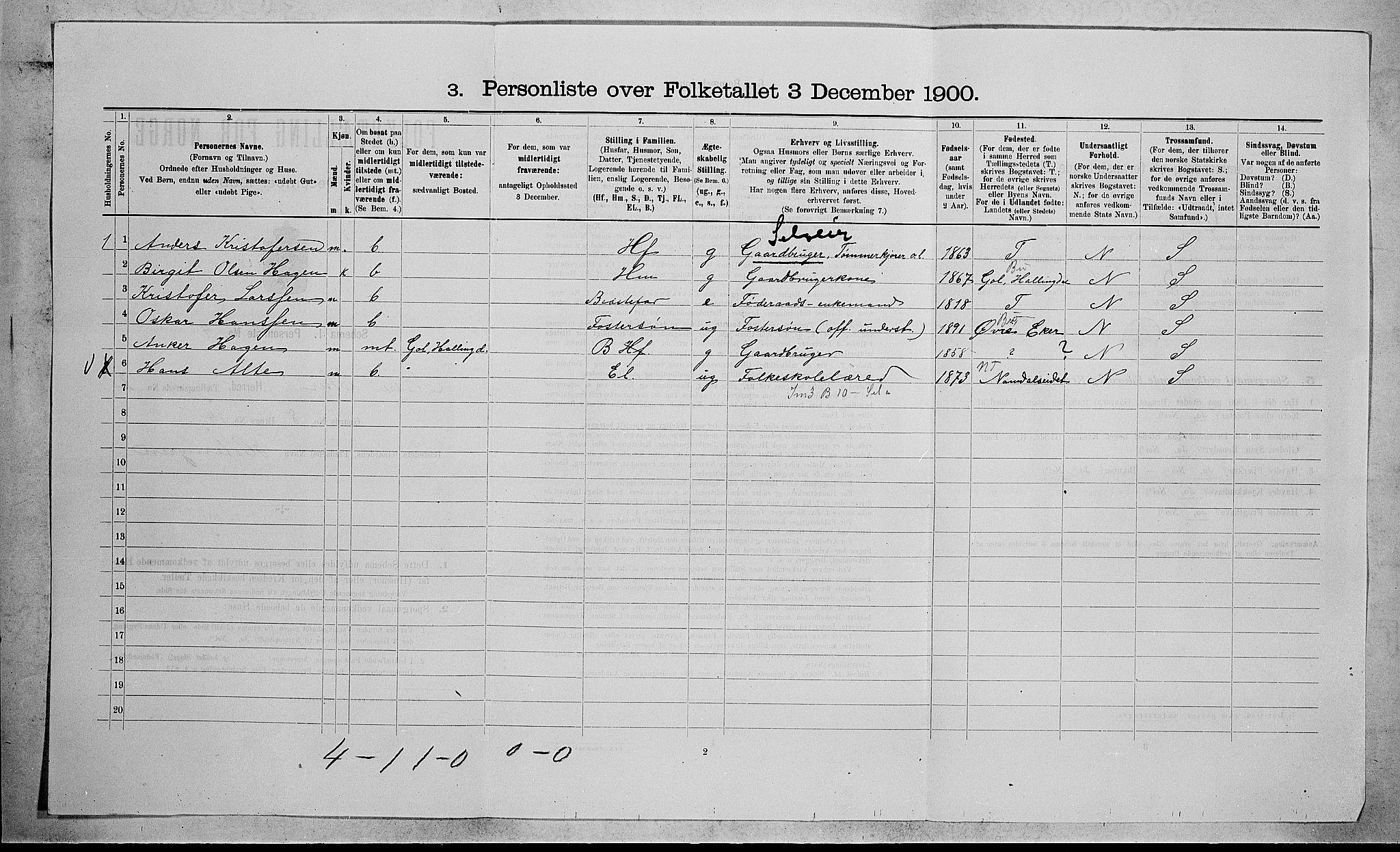 RA, Folketelling 1900 for 0625 Nedre Eiker herred, 1900, s. 257