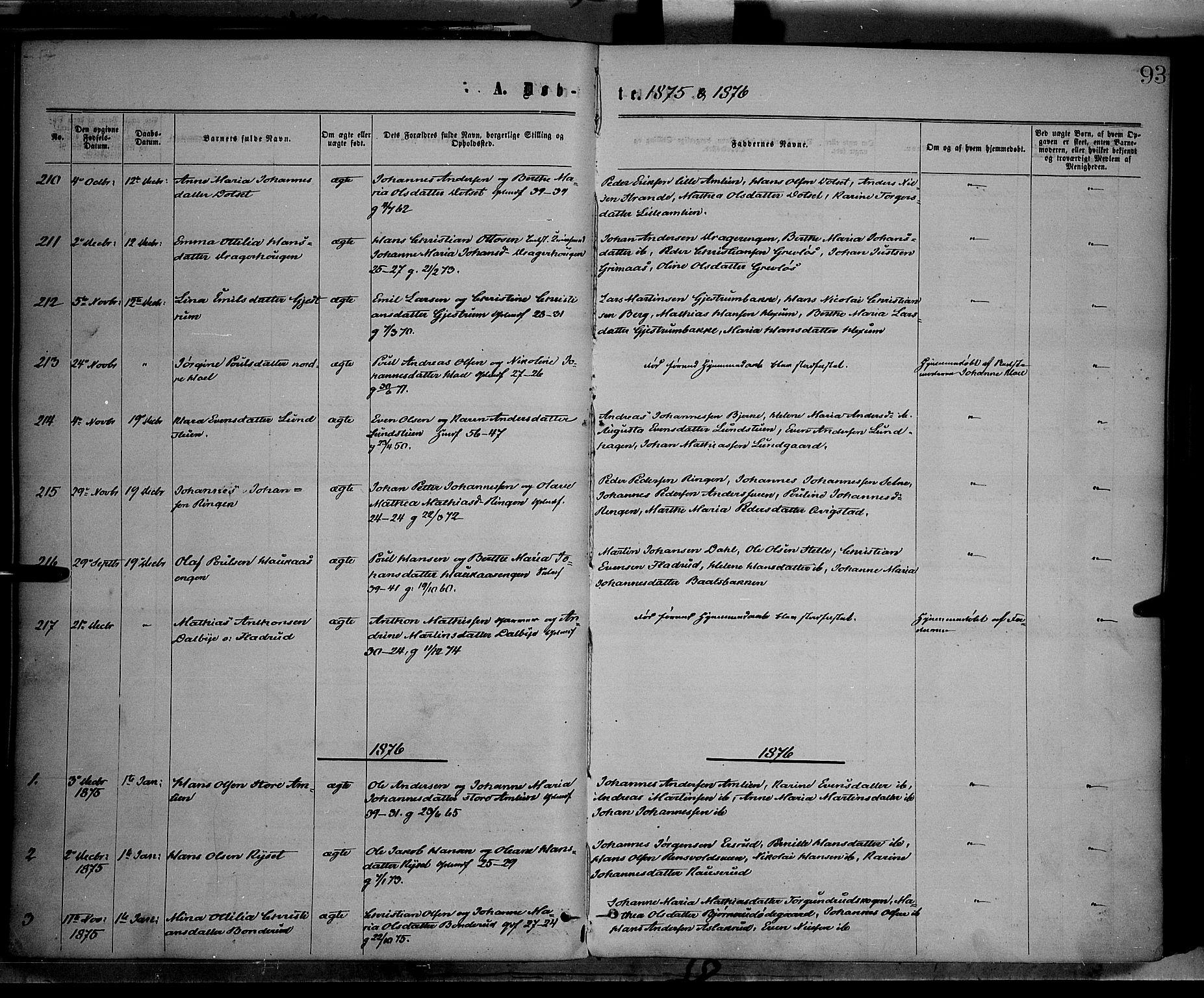 SAH, Vestre Toten prestekontor, Ministerialbok nr. 8, 1870-1877, s. 93