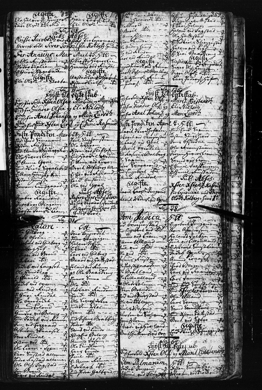 SAH, Fåberg prestekontor, Klokkerbok nr. 1, 1727-1767, s. 358-359