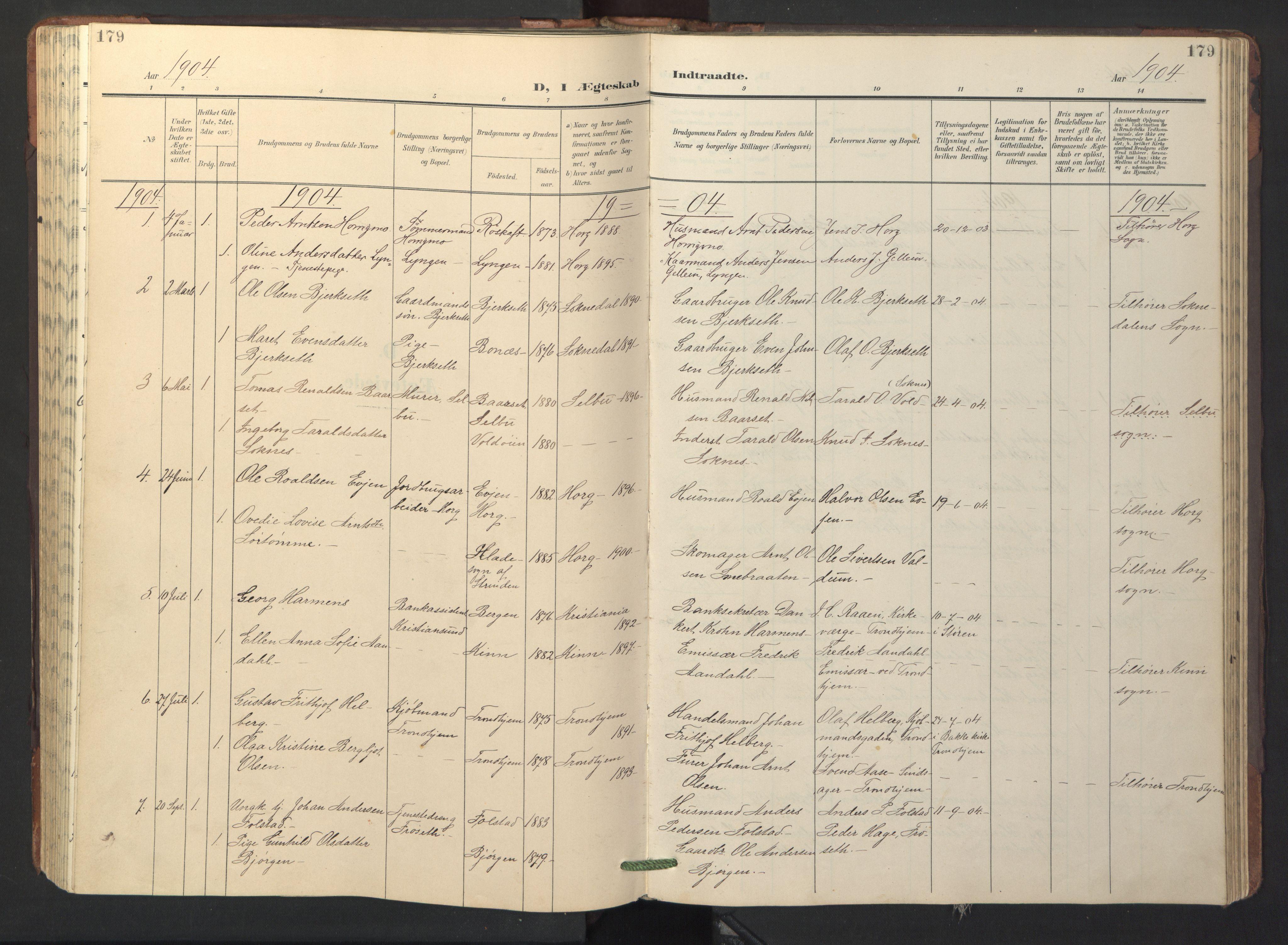 SAT, Ministerialprotokoller, klokkerbøker og fødselsregistre - Sør-Trøndelag, 687/L1019: Klokkerbok nr. 687C03, 1904-1931, s. 179