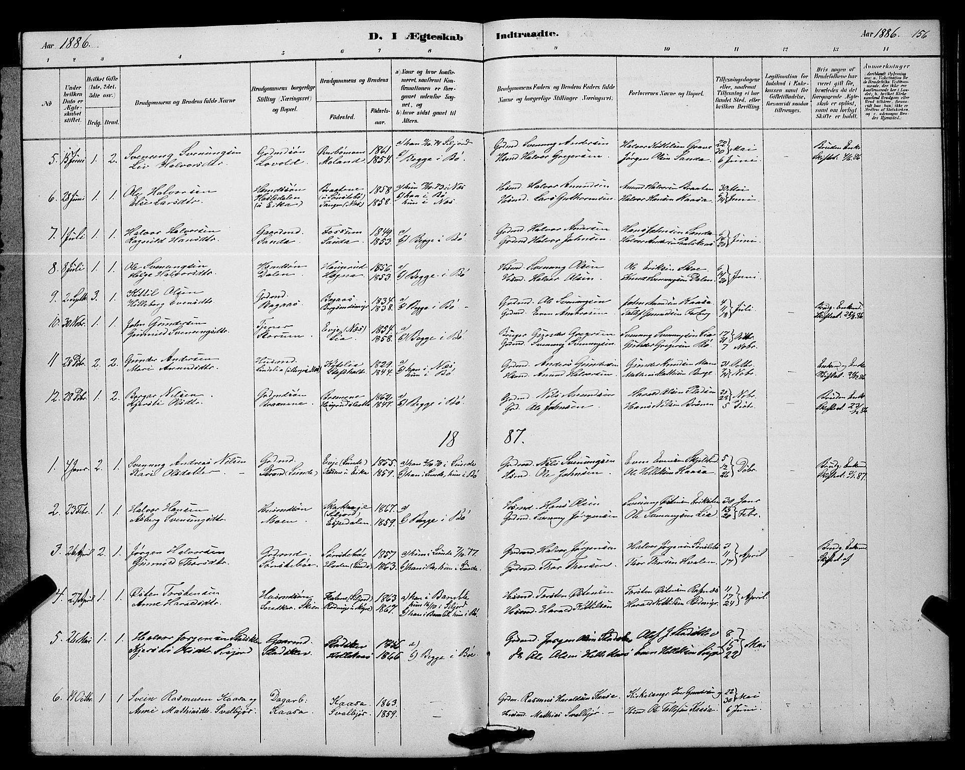 SAKO, Bø kirkebøker, G/Ga/L0005: Klokkerbok nr. 5, 1883-1897, s. 156