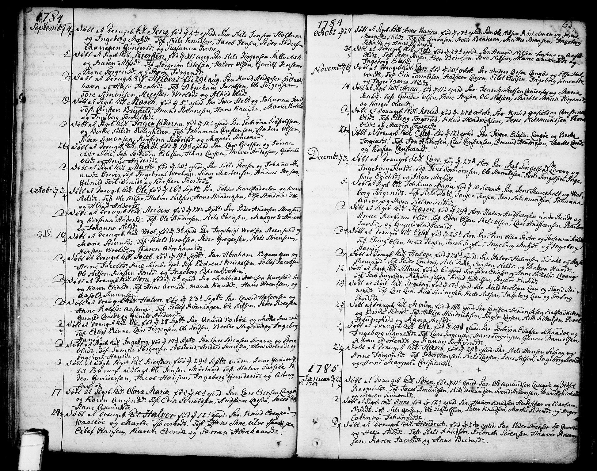 SAKO, Sannidal kirkebøker, F/Fa/L0002: Ministerialbok nr. 2, 1767-1802, s. 63