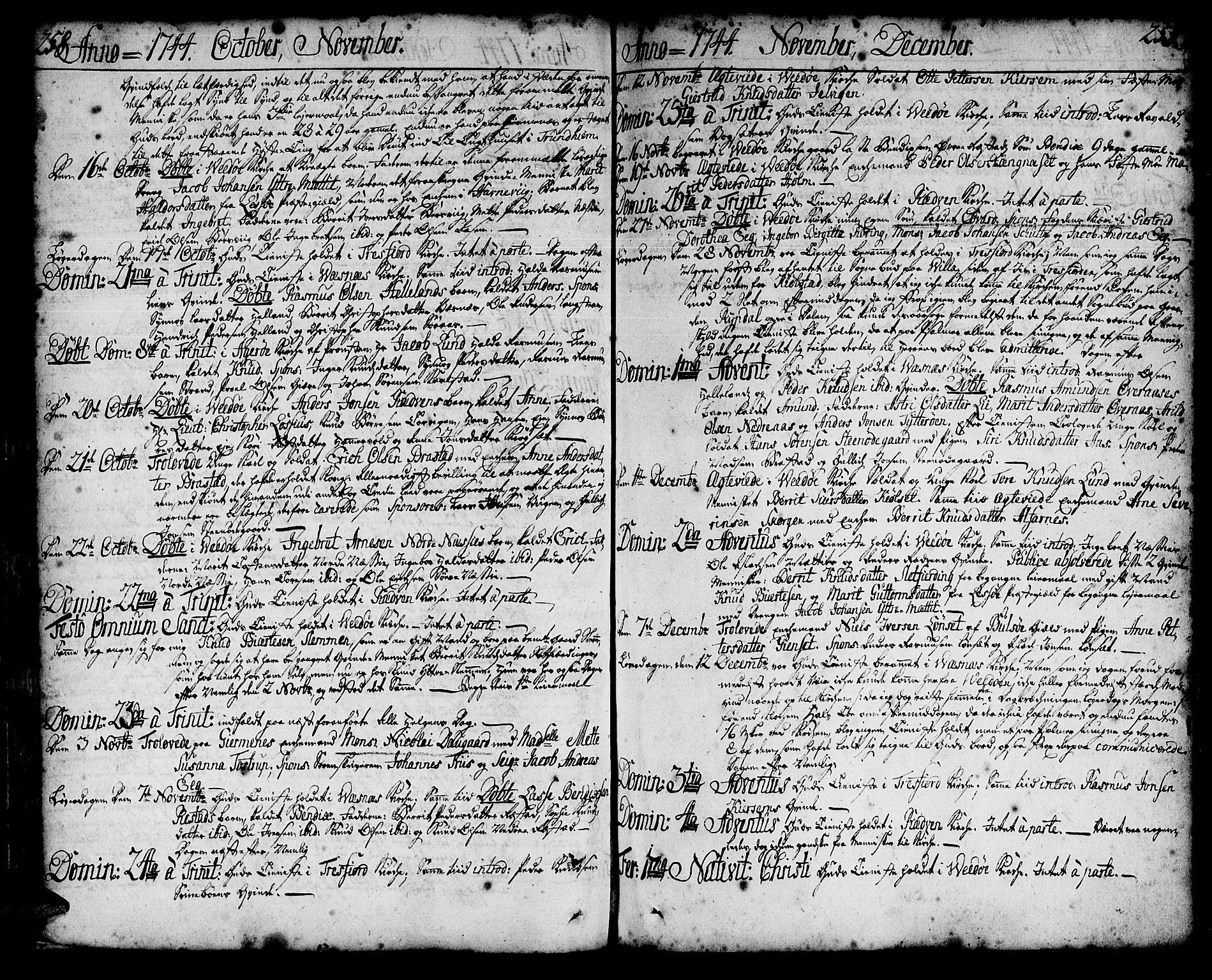 SAT, Ministerialprotokoller, klokkerbøker og fødselsregistre - Møre og Romsdal, 547/L0599: Ministerialbok nr. 547A01, 1721-1764, s. 258-259