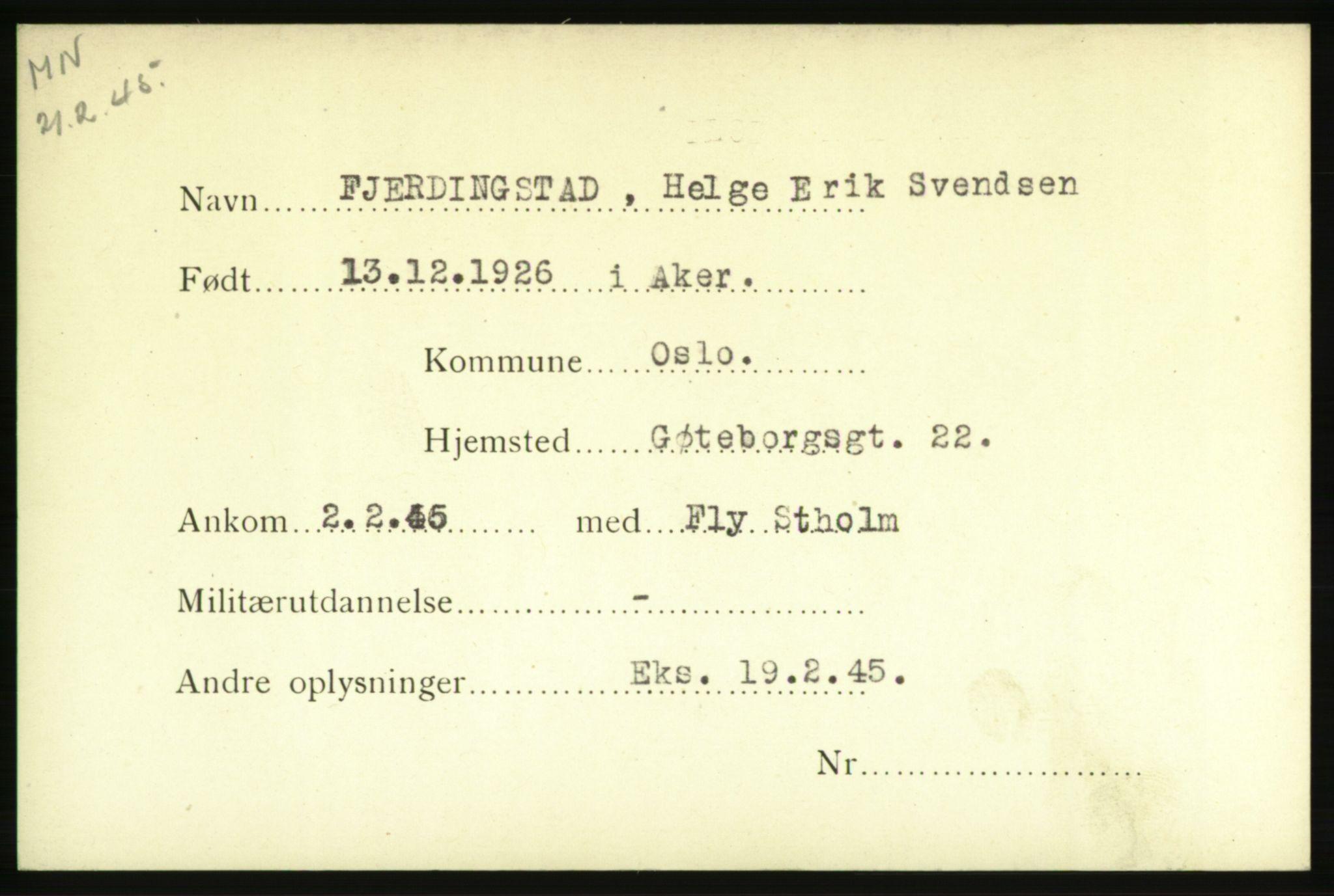 NHM, Forsvarets Overkommando. 2. kontor. Arkiv 8.1. Mottakersentralen FDE og FO.II, P/Pa/L0006: Kortsamling, 1940-1945, s. 2