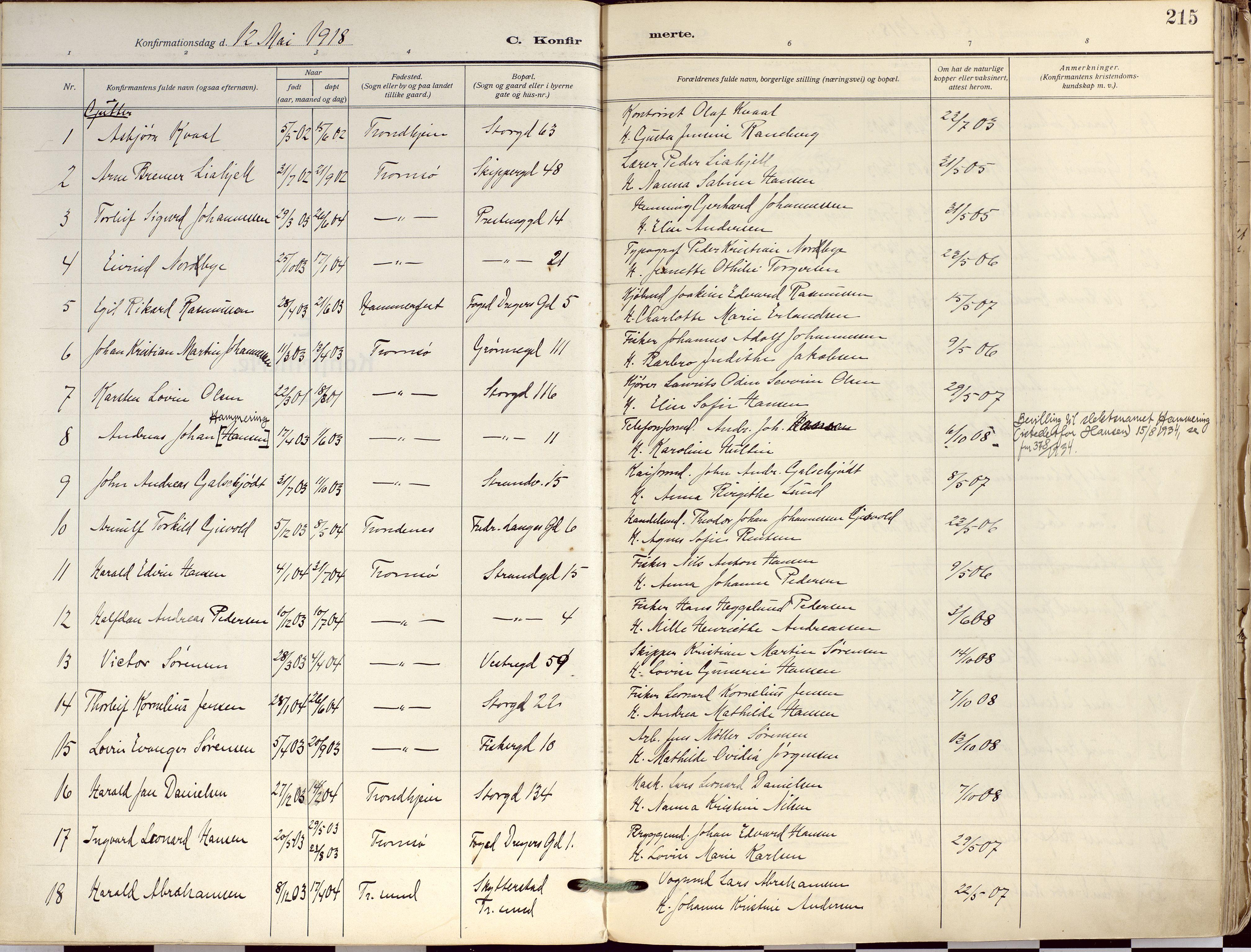 SATØ, Tromsø sokneprestkontor/stiftsprosti/domprosti, G/Ga/L0019kirke: Ministerialbok nr. 19, 1917-1927, s. 215