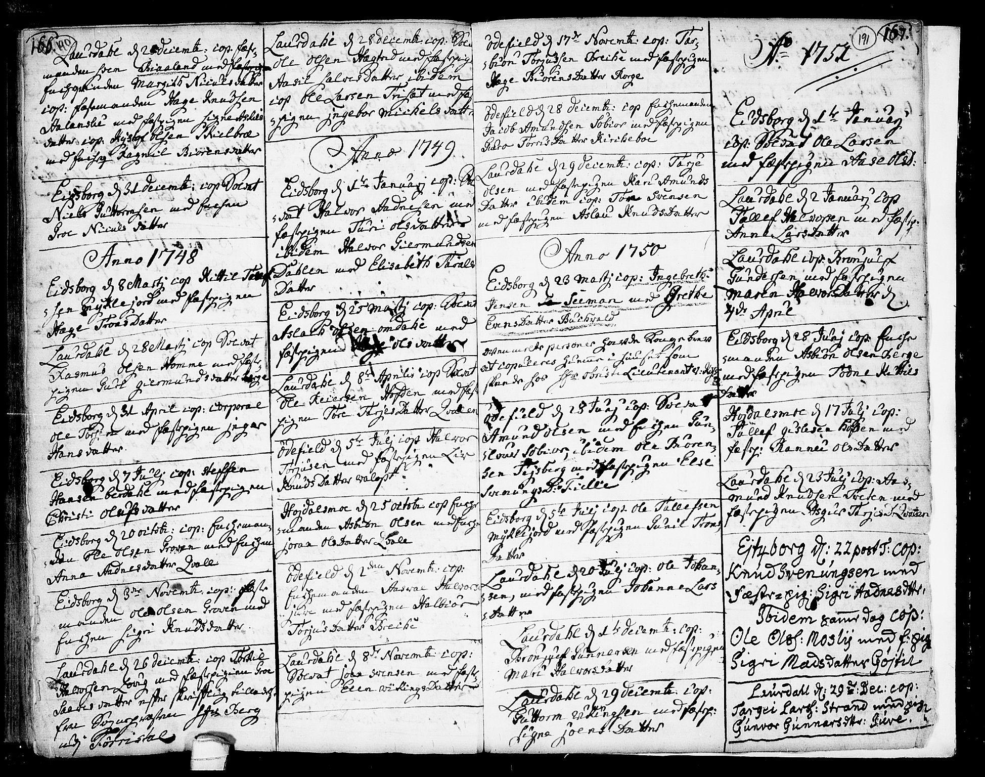 SAKO, Lårdal kirkebøker, F/Fa/L0002: Ministerialbok nr. I 2, 1734-1754, s. 190-191