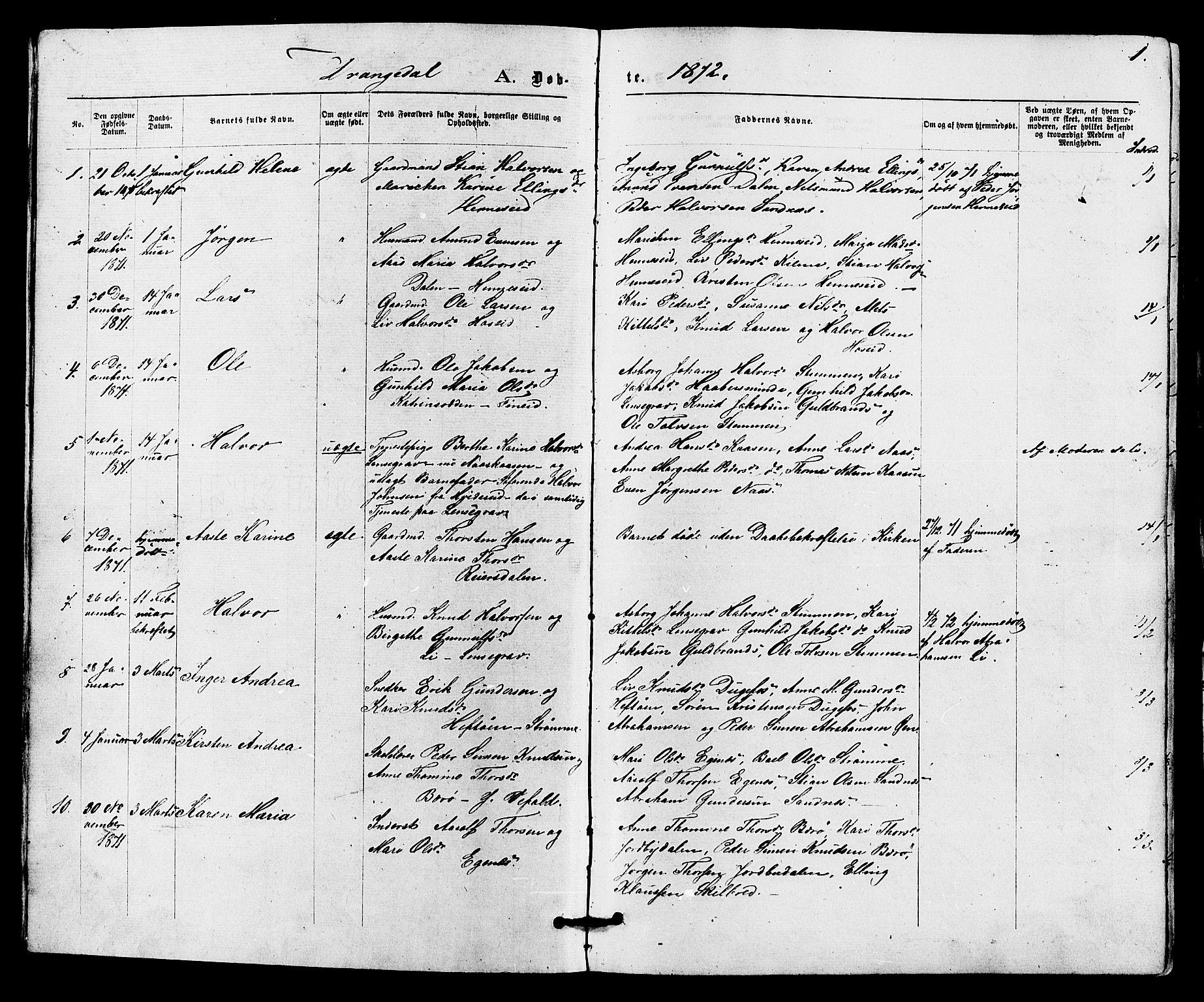 SAKO, Drangedal kirkebøker, F/Fa/L0009: Ministerialbok nr. 9 /1, 1872-1884, s. 1