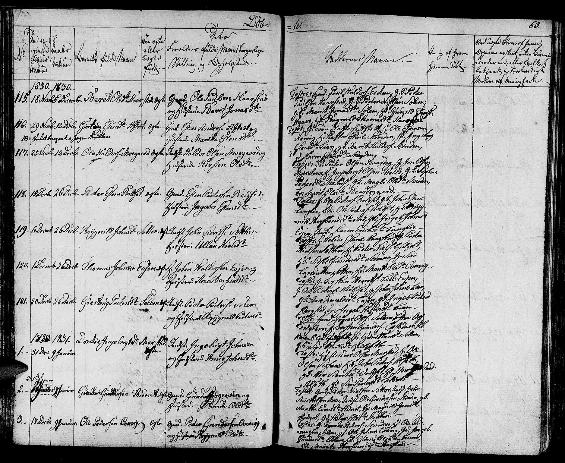 SAT, Ministerialprotokoller, klokkerbøker og fødselsregistre - Sør-Trøndelag, 695/L1143: Ministerialbok nr. 695A05 /1, 1824-1842, s. 63