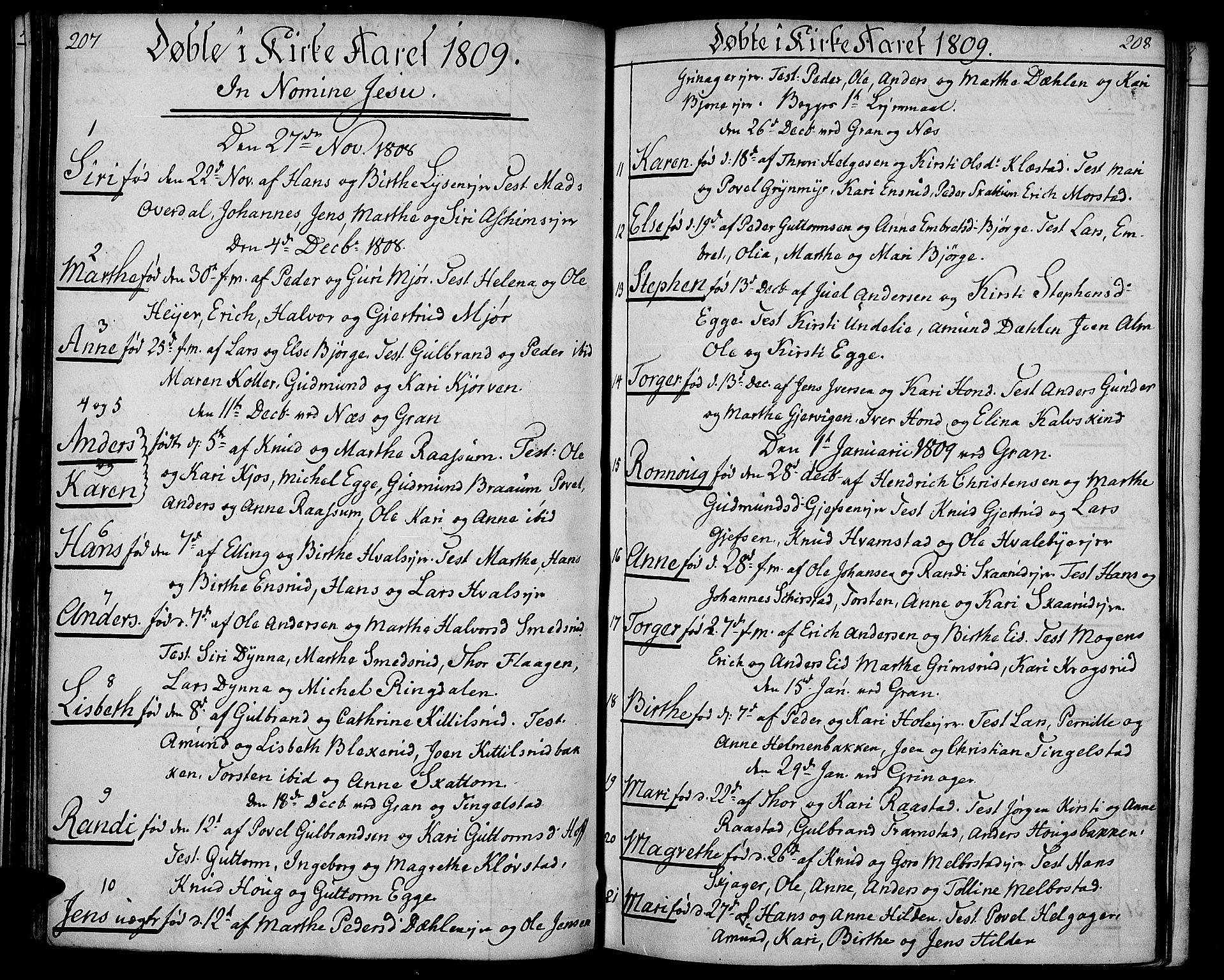 SAH, Gran prestekontor, Ministerialbok nr. 8, 1798-1811, s. 207-208