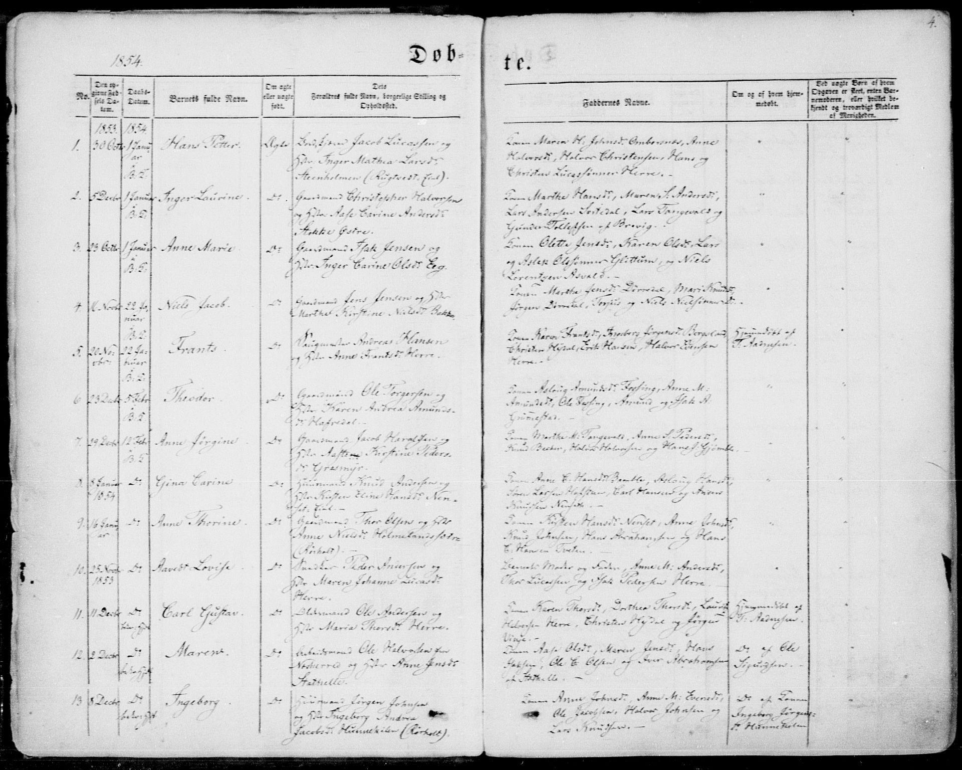 SAKO, Bamble kirkebøker, F/Fa/L0005: Ministerialbok nr. I 5, 1854-1869, s. 4