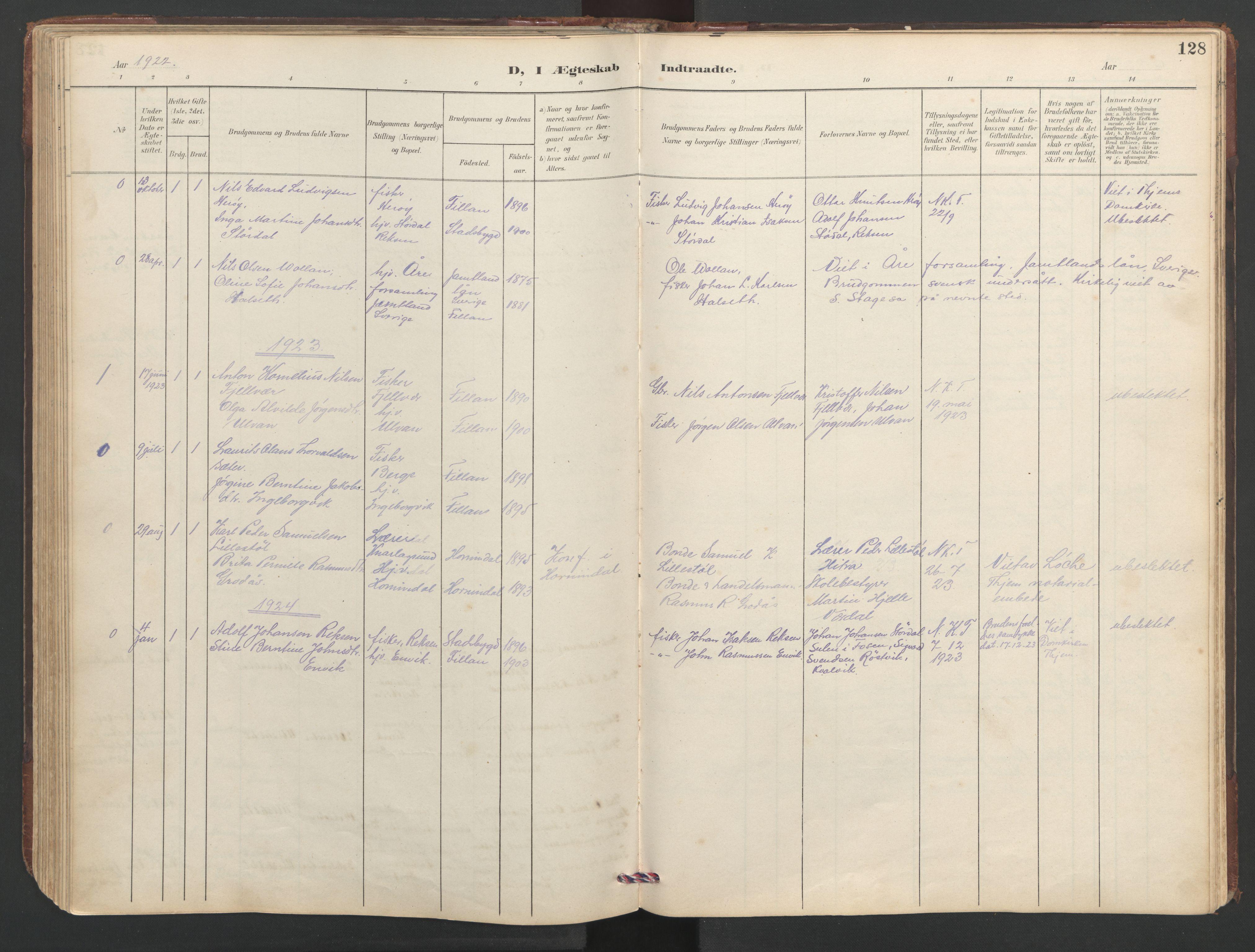 SAT, Ministerialprotokoller, klokkerbøker og fødselsregistre - Sør-Trøndelag, 638/L0571: Klokkerbok nr. 638C03, 1901-1930, s. 128