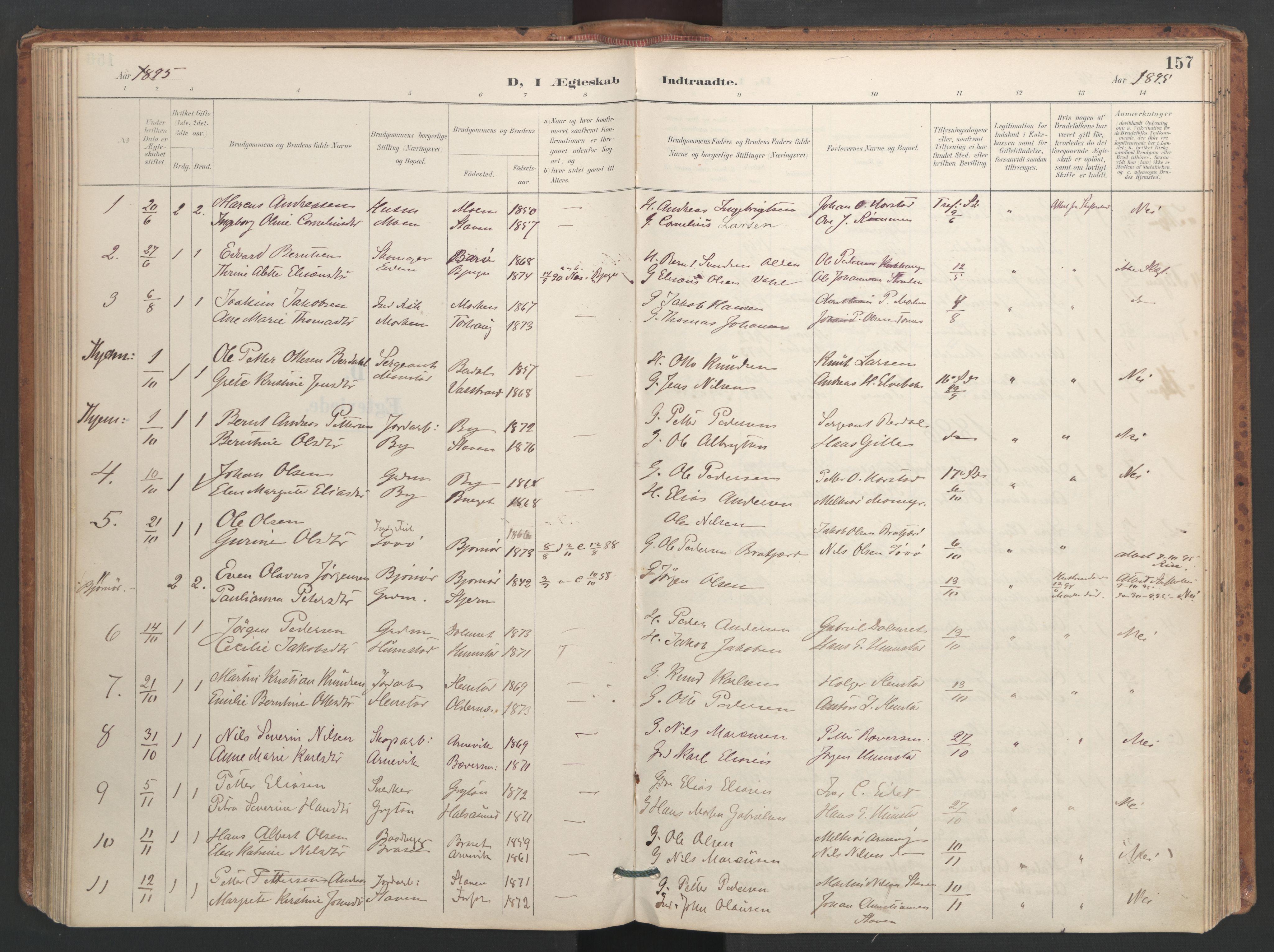 SAT, Ministerialprotokoller, klokkerbøker og fødselsregistre - Sør-Trøndelag, 655/L0681: Ministerialbok nr. 655A10, 1895-1907, s. 157