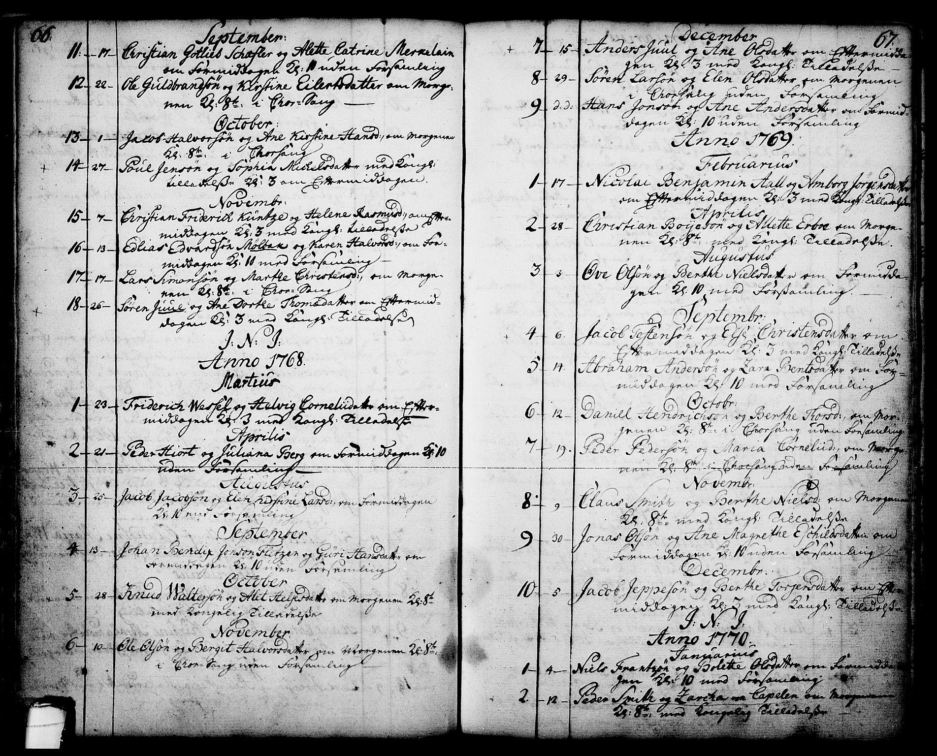 SAKO, Skien kirkebøker, F/Fa/L0003: Ministerialbok nr. 3, 1755-1791, s. 66-67