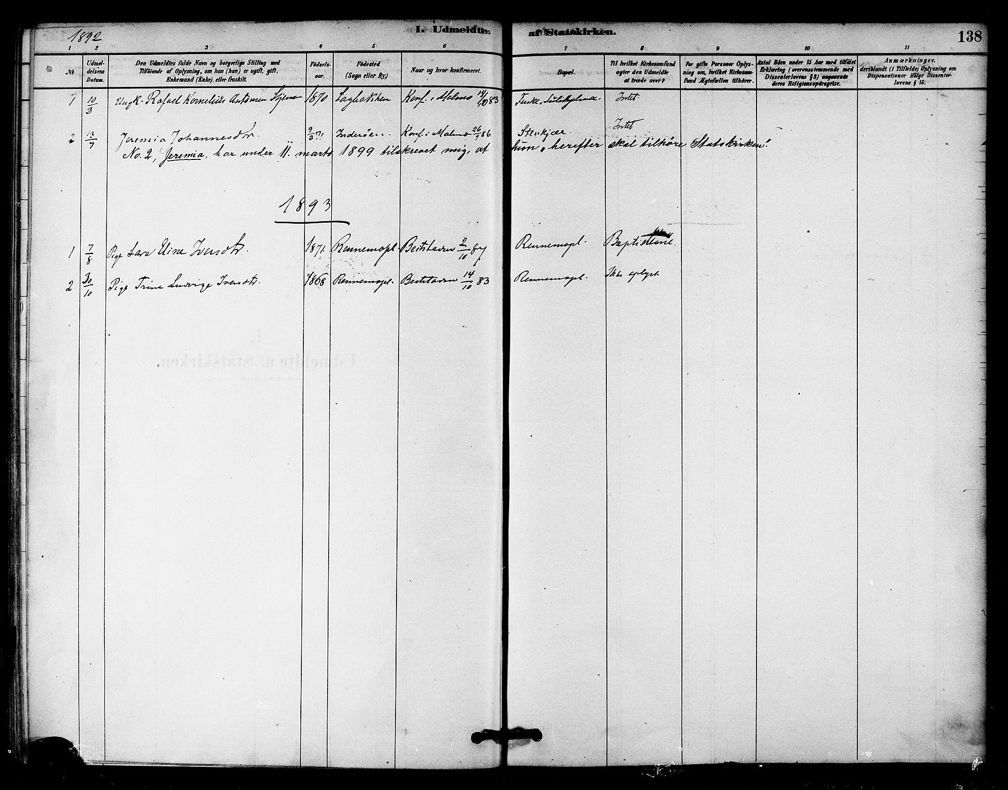 SAT, Ministerialprotokoller, klokkerbøker og fødselsregistre - Nord-Trøndelag, 745/L0429: Ministerialbok nr. 745A01, 1878-1894, s. 138
