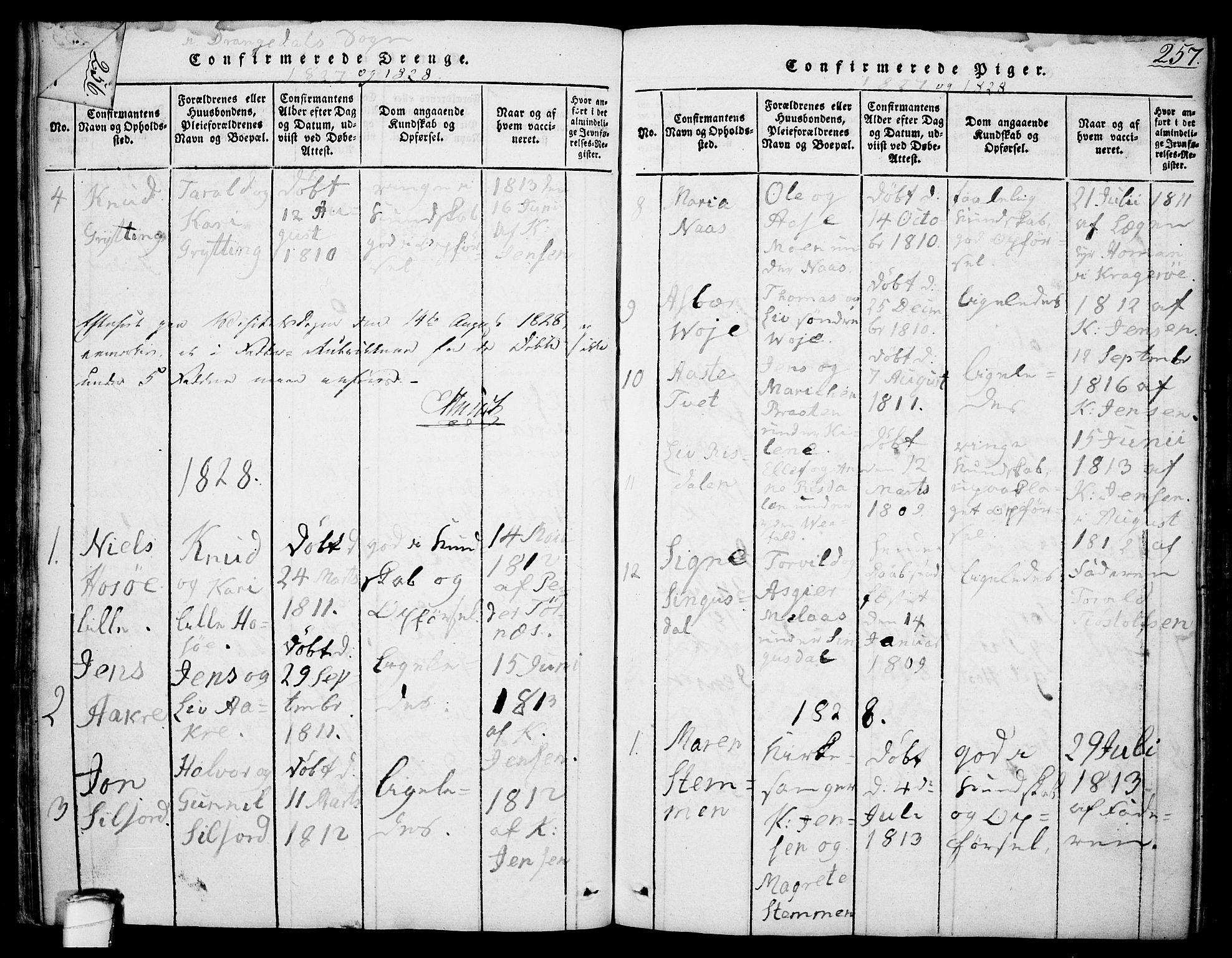 SAKO, Drangedal kirkebøker, F/Fa/L0005: Ministerialbok nr. 5 /1, 1814-1831, s. 257