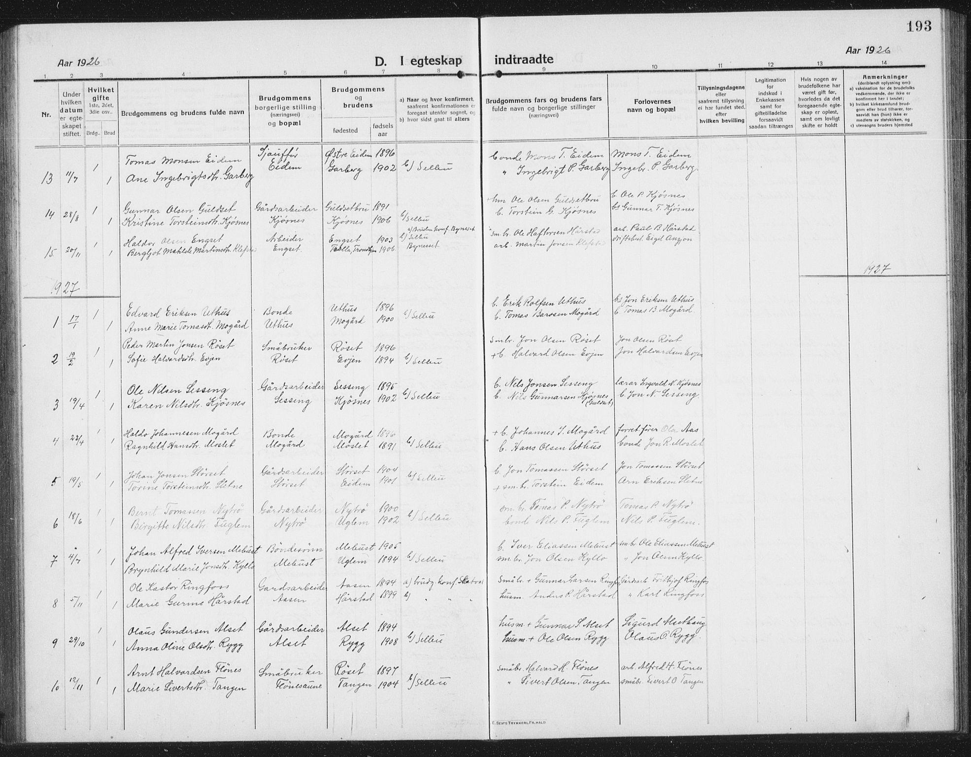 SAT, Ministerialprotokoller, klokkerbøker og fødselsregistre - Sør-Trøndelag, 695/L1158: Klokkerbok nr. 695C09, 1913-1940, s. 193
