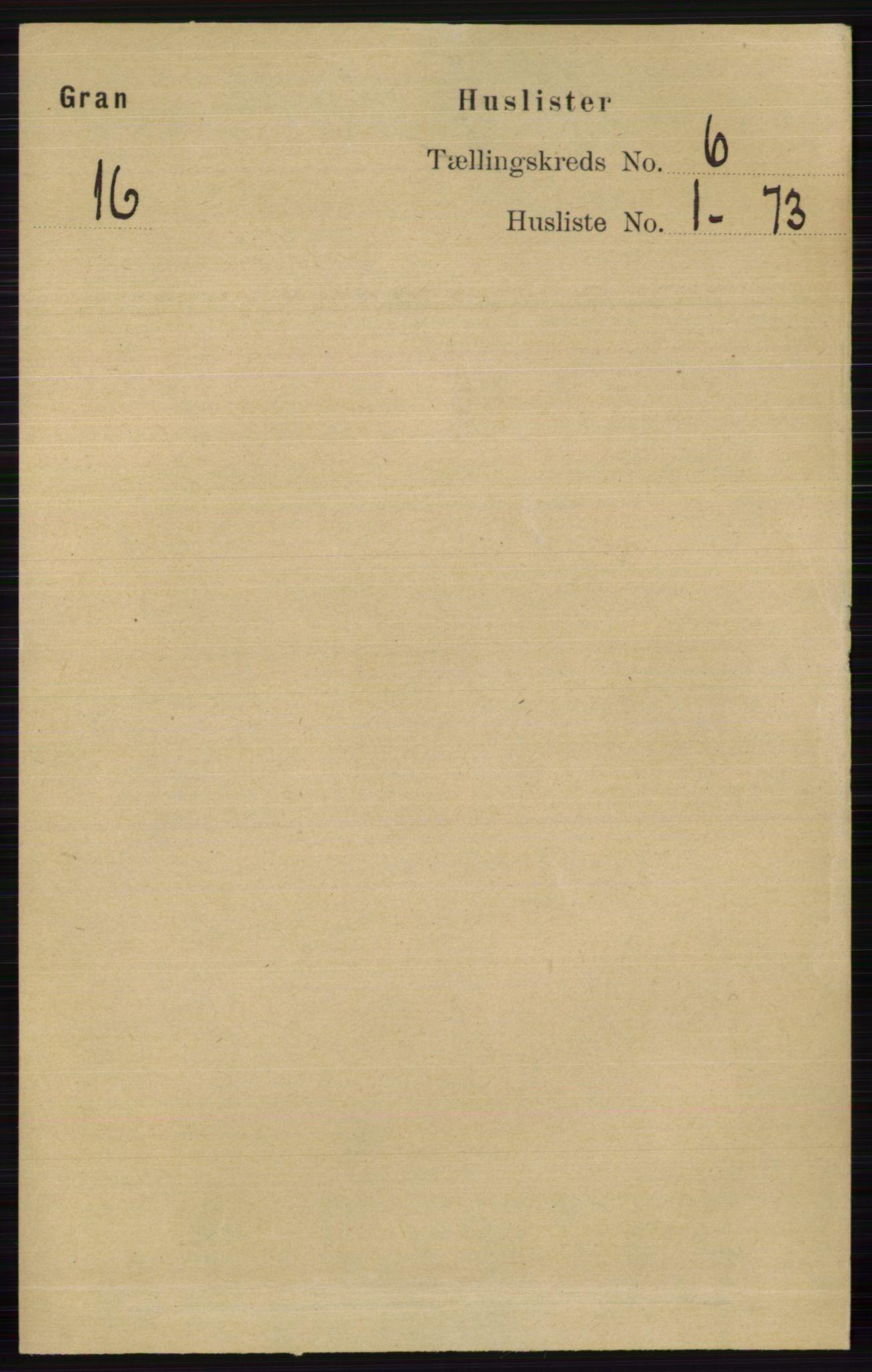 RA, Folketelling 1891 for 0534 Gran herred, 1891, s. 2153