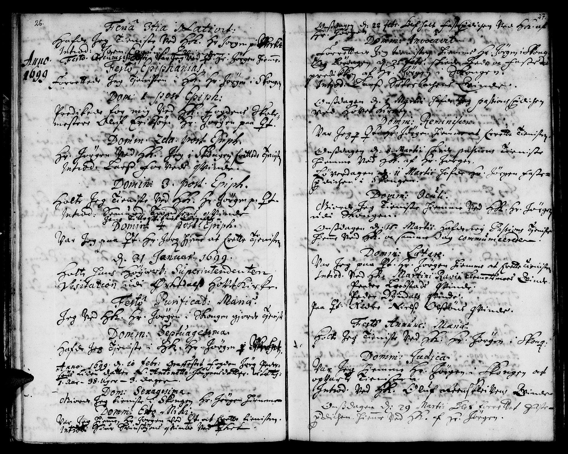 SAT, Ministerialprotokoller, klokkerbøker og fødselsregistre - Sør-Trøndelag, 668/L0801: Ministerialbok nr. 668A01, 1695-1716, s. 26-27