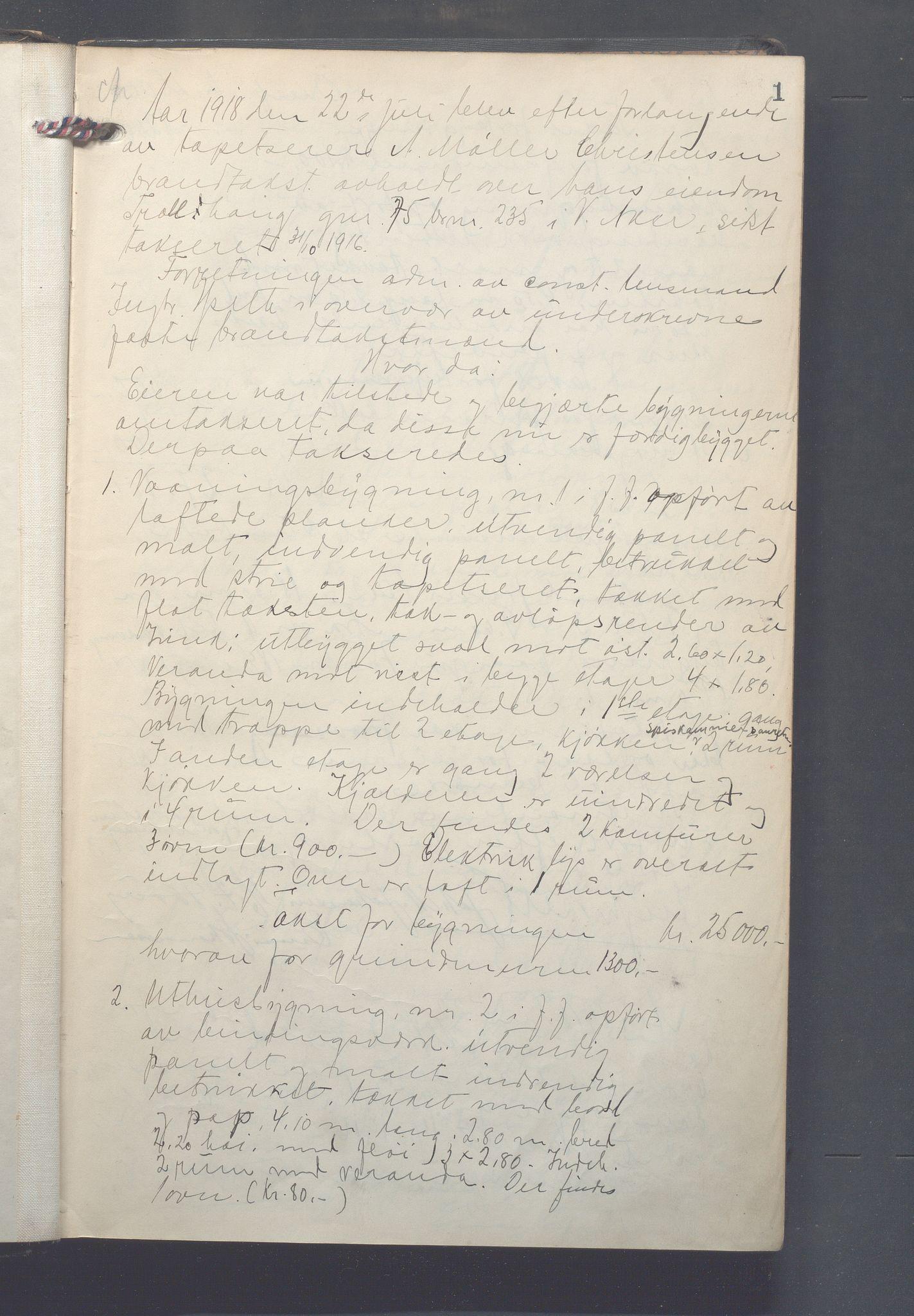 OBA, Lensmennene i Aker, F/Fa/L0019: Branntakstprotokoll, 1918-1919, s. 1