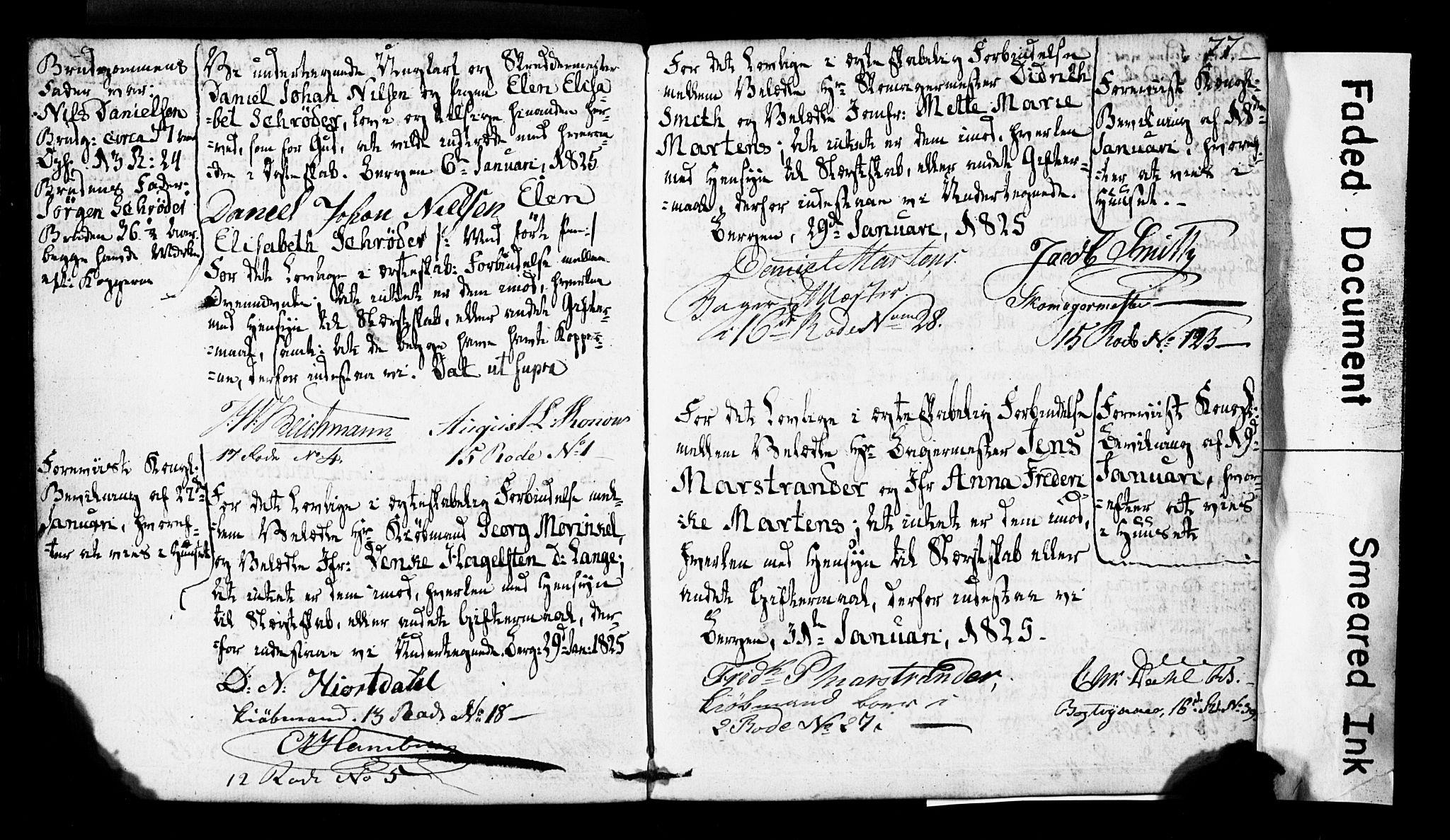 SAB, Domkirken Sokneprestembete, Forlovererklæringer nr. II.5.2, 1820-1832, s. 77