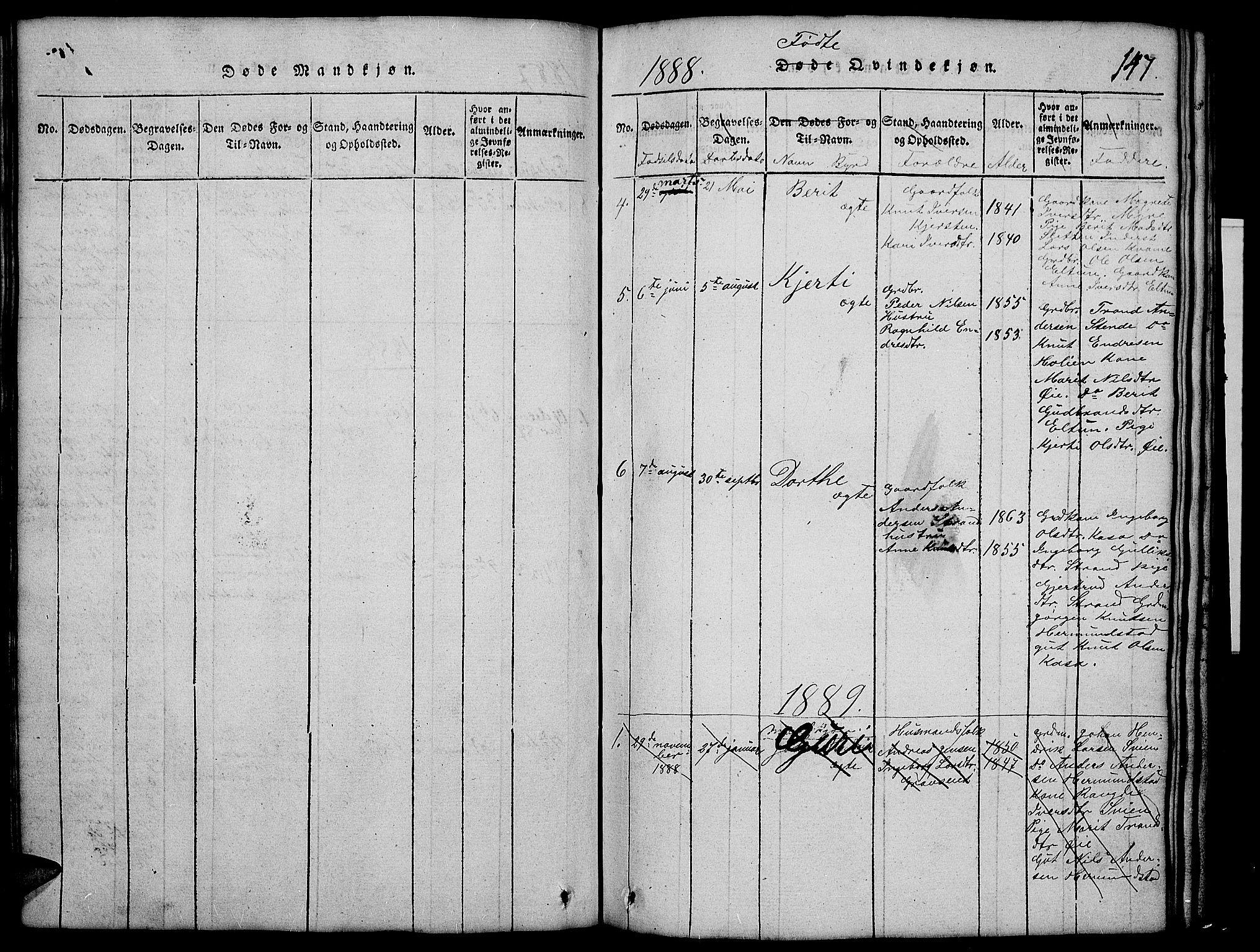 SAH, Vang prestekontor, Valdres, Klokkerbok nr. 2, 1814-1889, s. 147