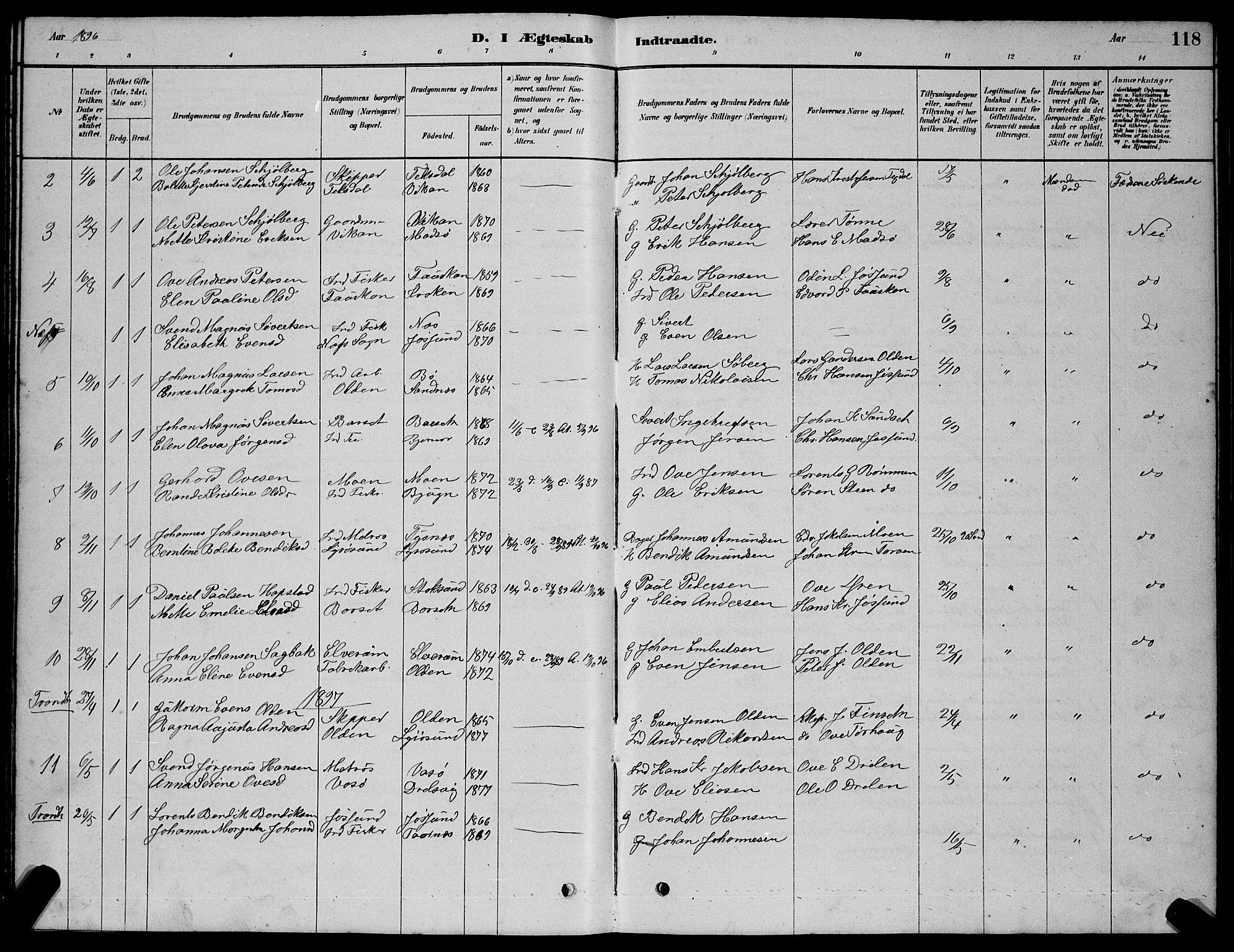 SAT, Ministerialprotokoller, klokkerbøker og fødselsregistre - Sør-Trøndelag, 654/L0665: Klokkerbok nr. 654C01, 1879-1901, s. 118