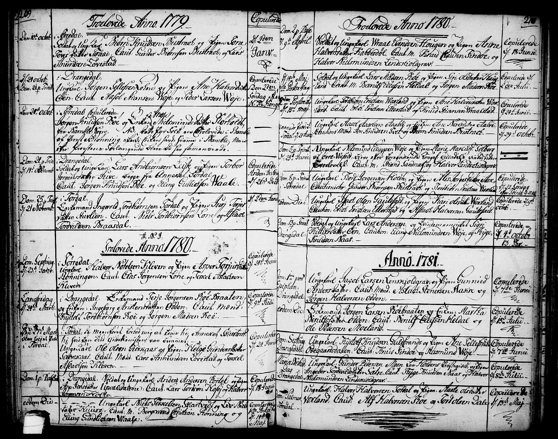 SAKO, Drangedal kirkebøker, F/Fa/L0003: Ministerialbok nr. 3, 1768-1814, s. 209-210