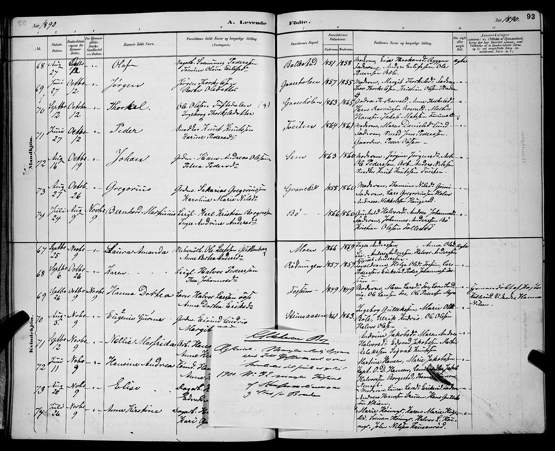 SAKO, Gjerpen kirkebøker, G/Ga/L0002: Klokkerbok nr. I 2, 1883-1900, s. 93