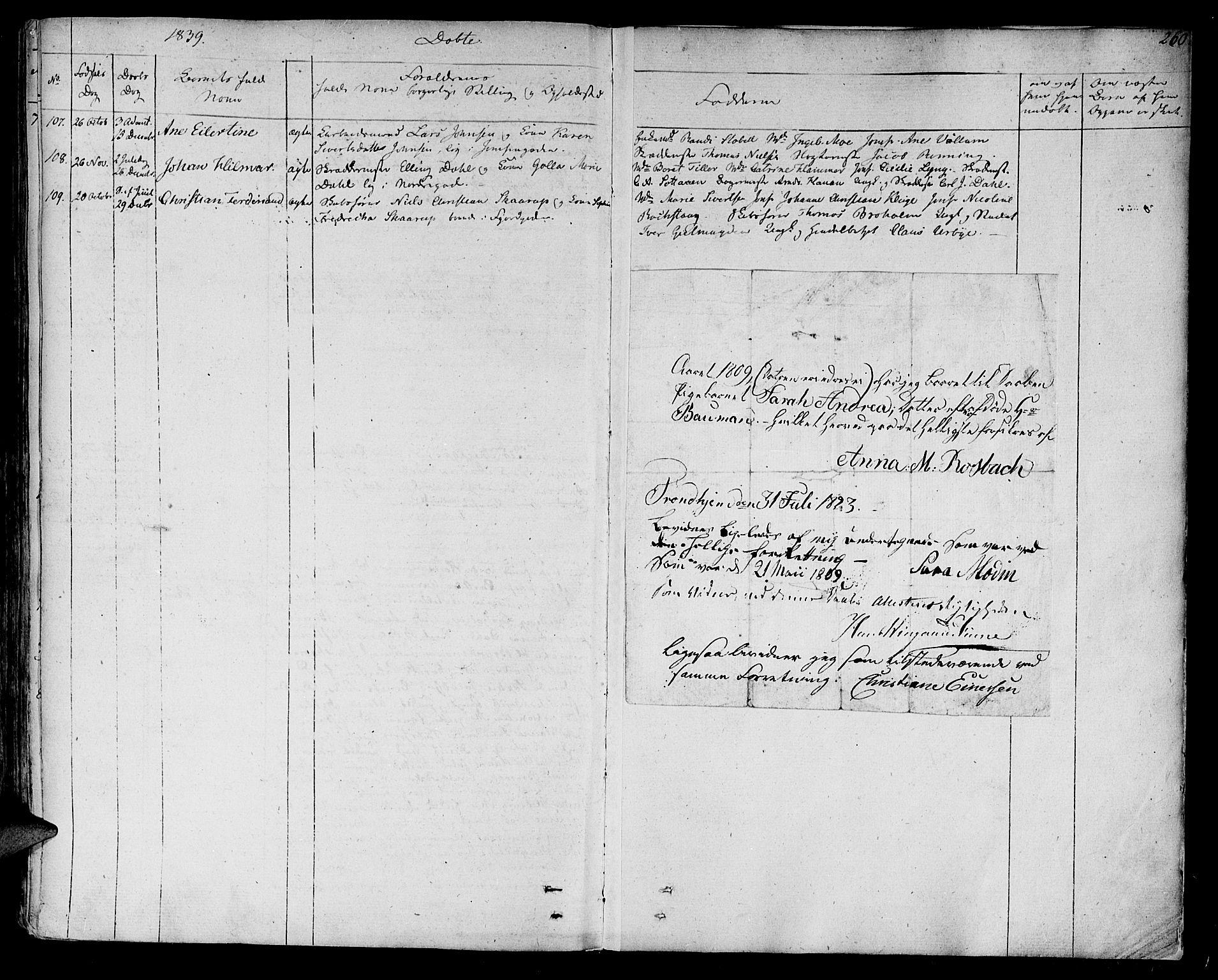 SAT, Ministerialprotokoller, klokkerbøker og fødselsregistre - Sør-Trøndelag, 602/L0108: Ministerialbok nr. 602A06, 1821-1839, s. 260