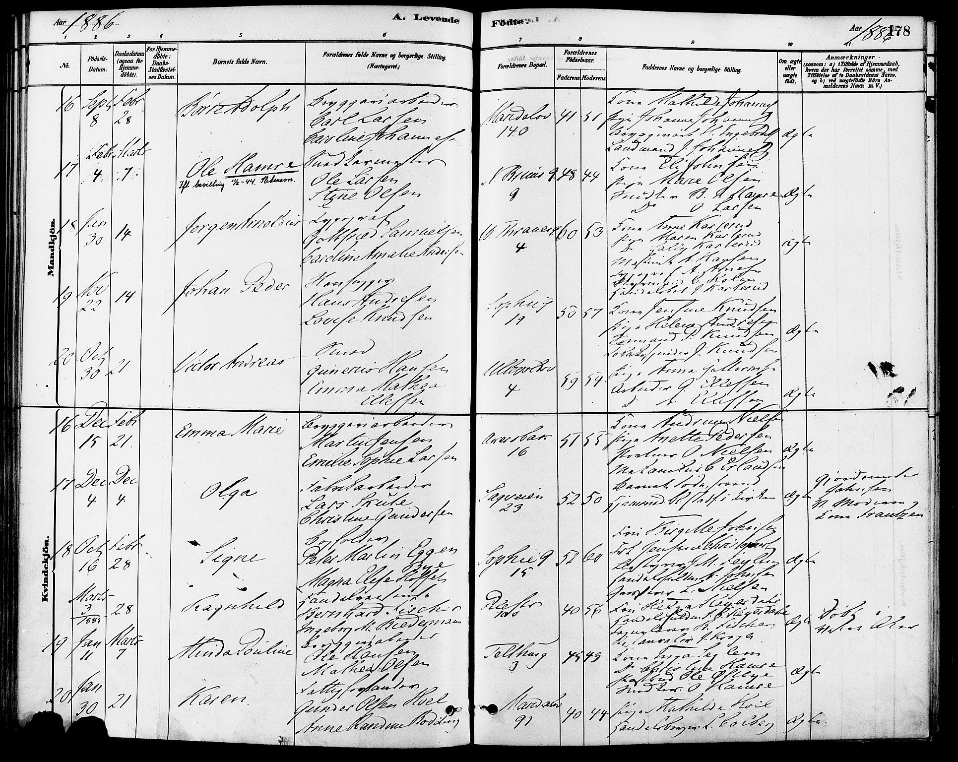 SAO, Gamle Aker prestekontor Kirkebøker, F/L0006: Ministerialbok nr. 6, 1880-1887, s. 178